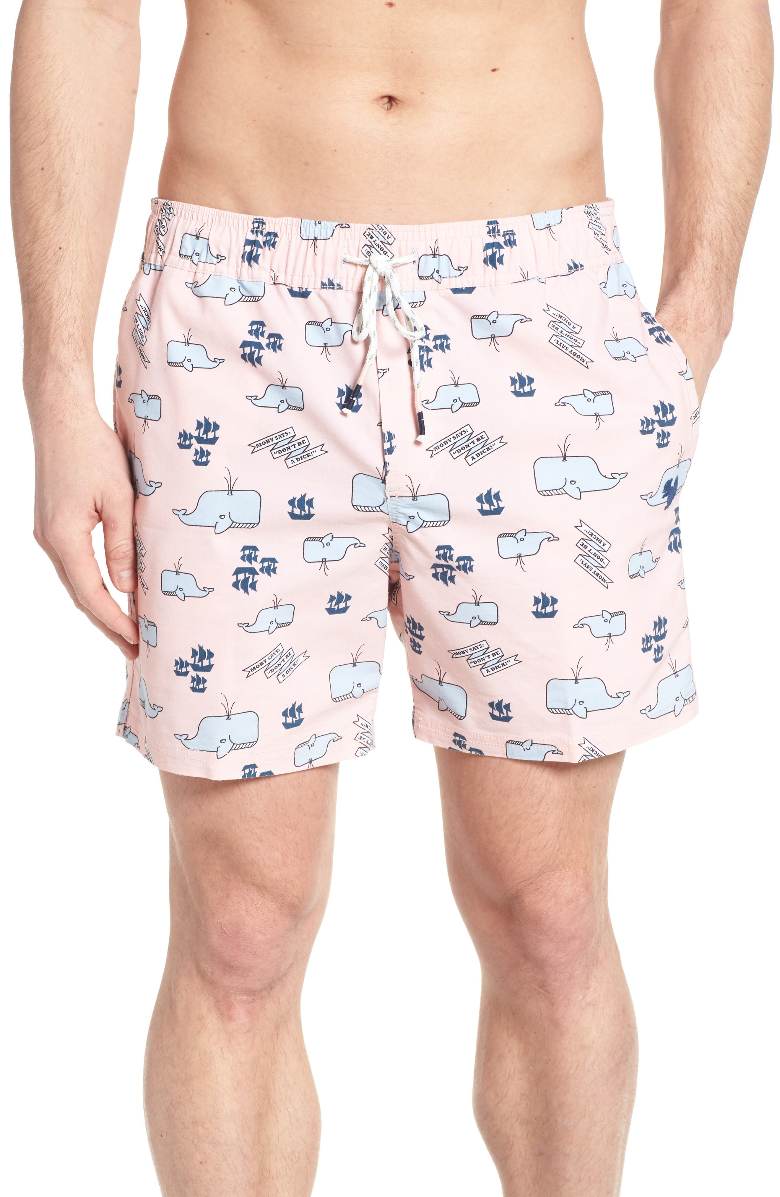 Moby Beaver Swim Trunks,                             Main thumbnail 1, color,                             Pink