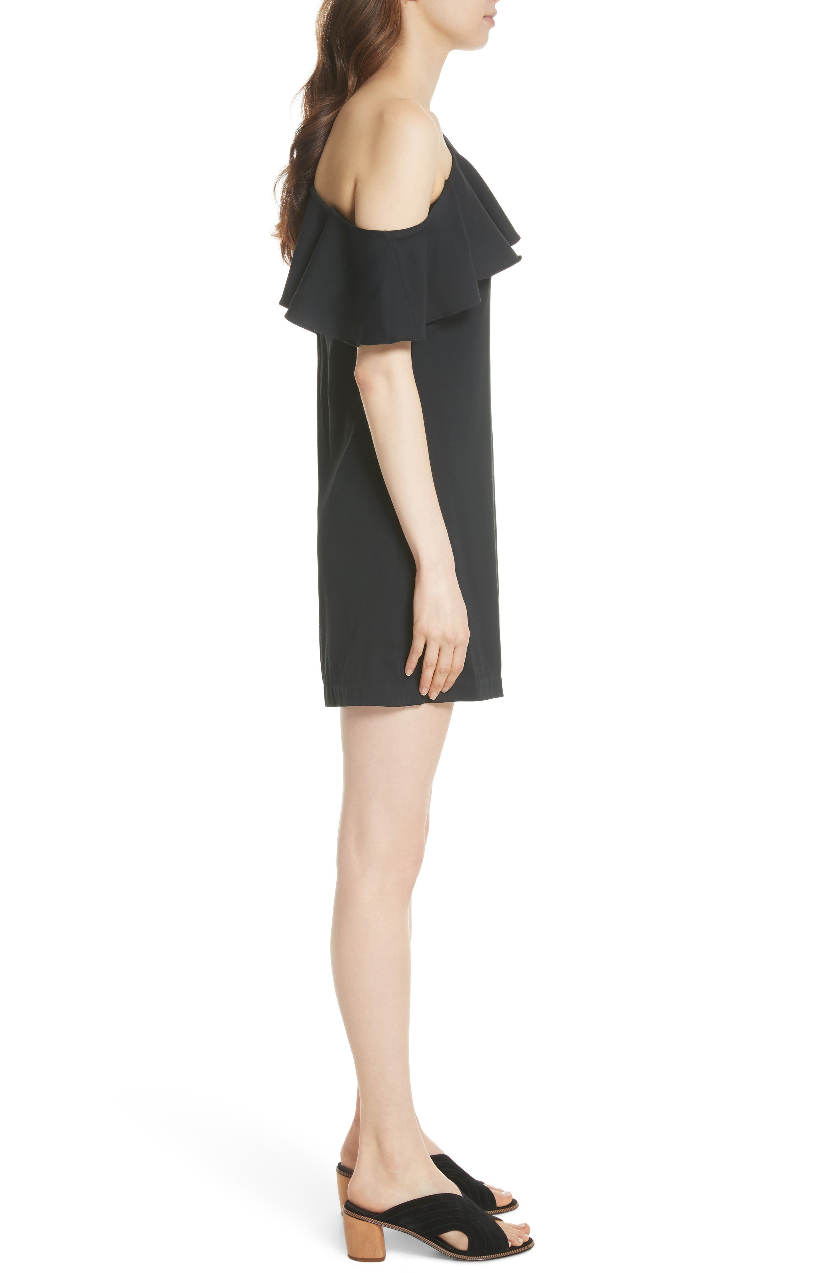 Bronwen Ruffled One-Shoulder Dress,                             Alternate thumbnail 3, color,                             Caviar