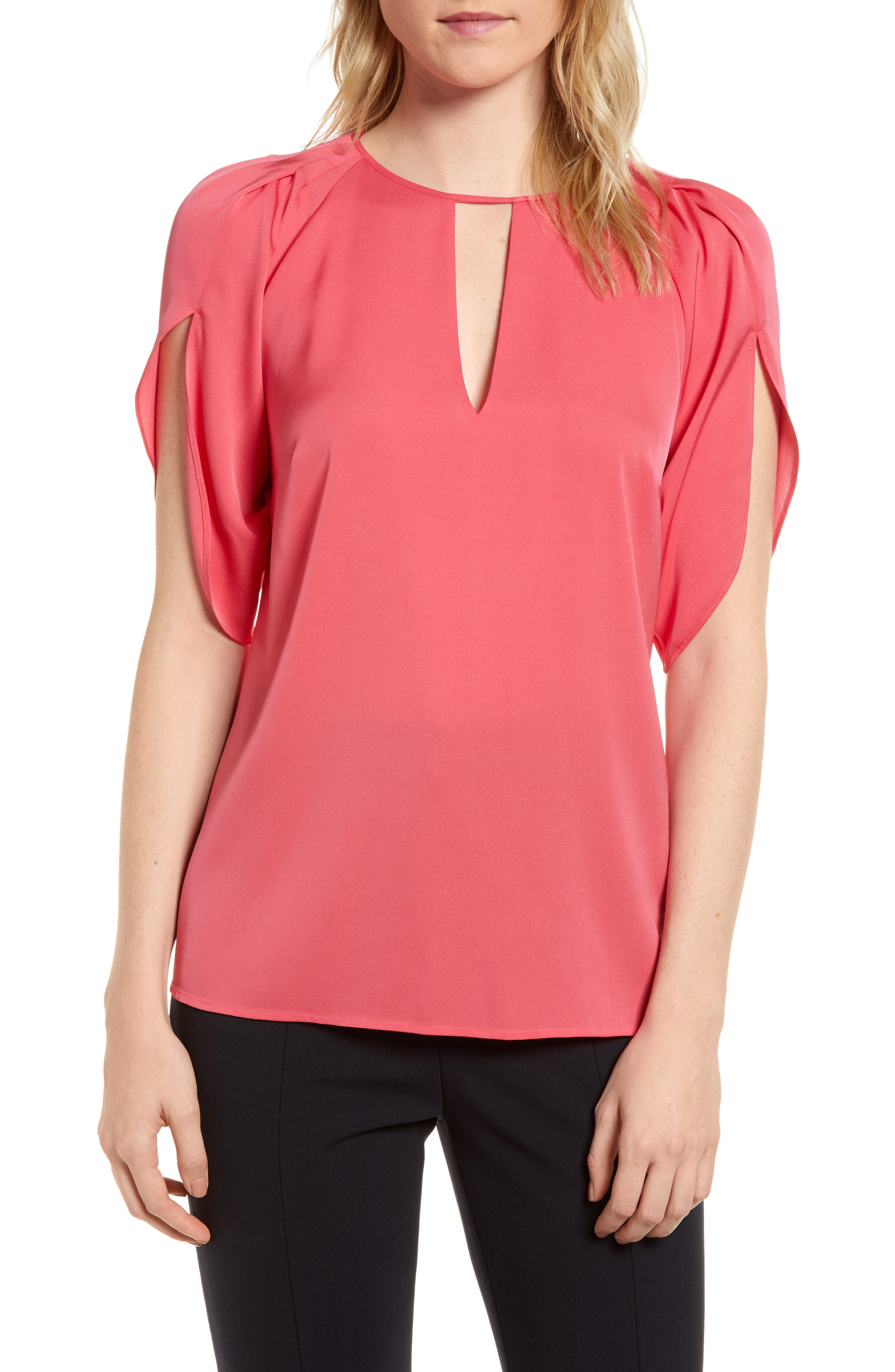 Lewit Draped Sleeve Stretch Silk Top