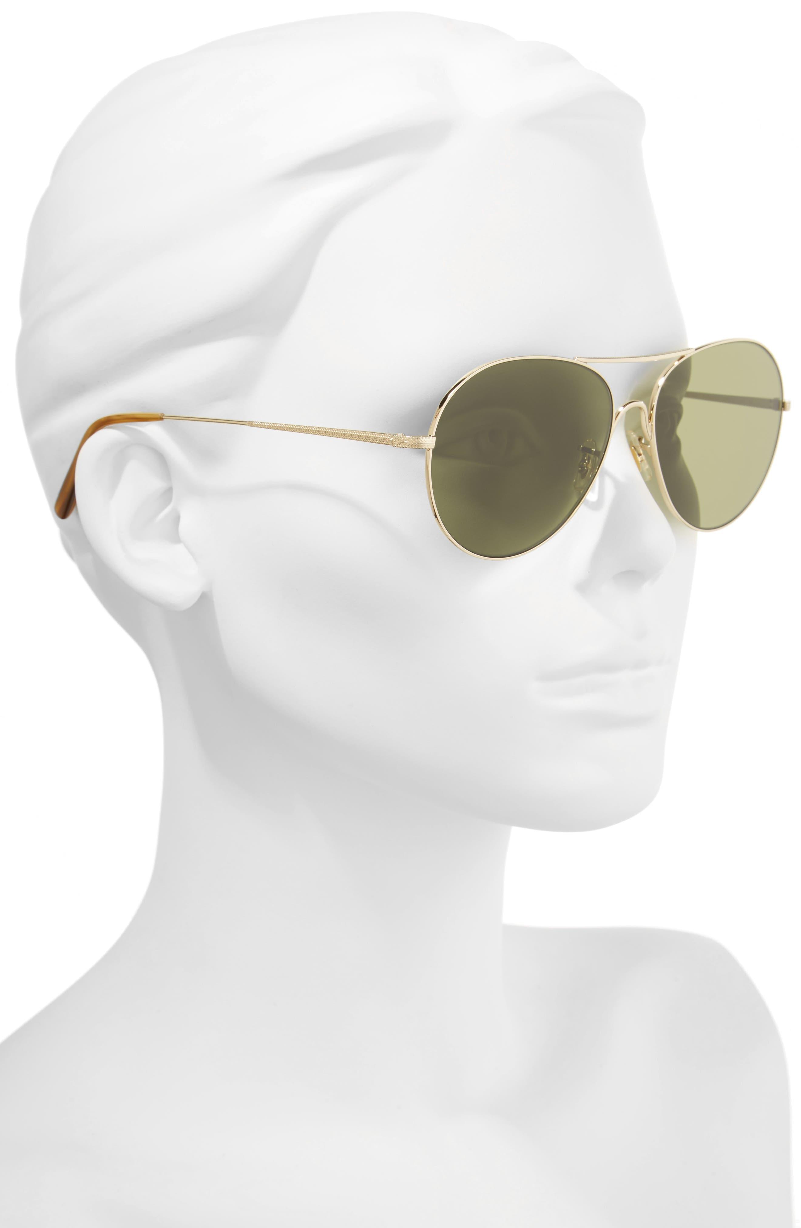 Rockmore 58mm Aviator Sunglasses,                             Alternate thumbnail 2, color,                             Gold/ Green