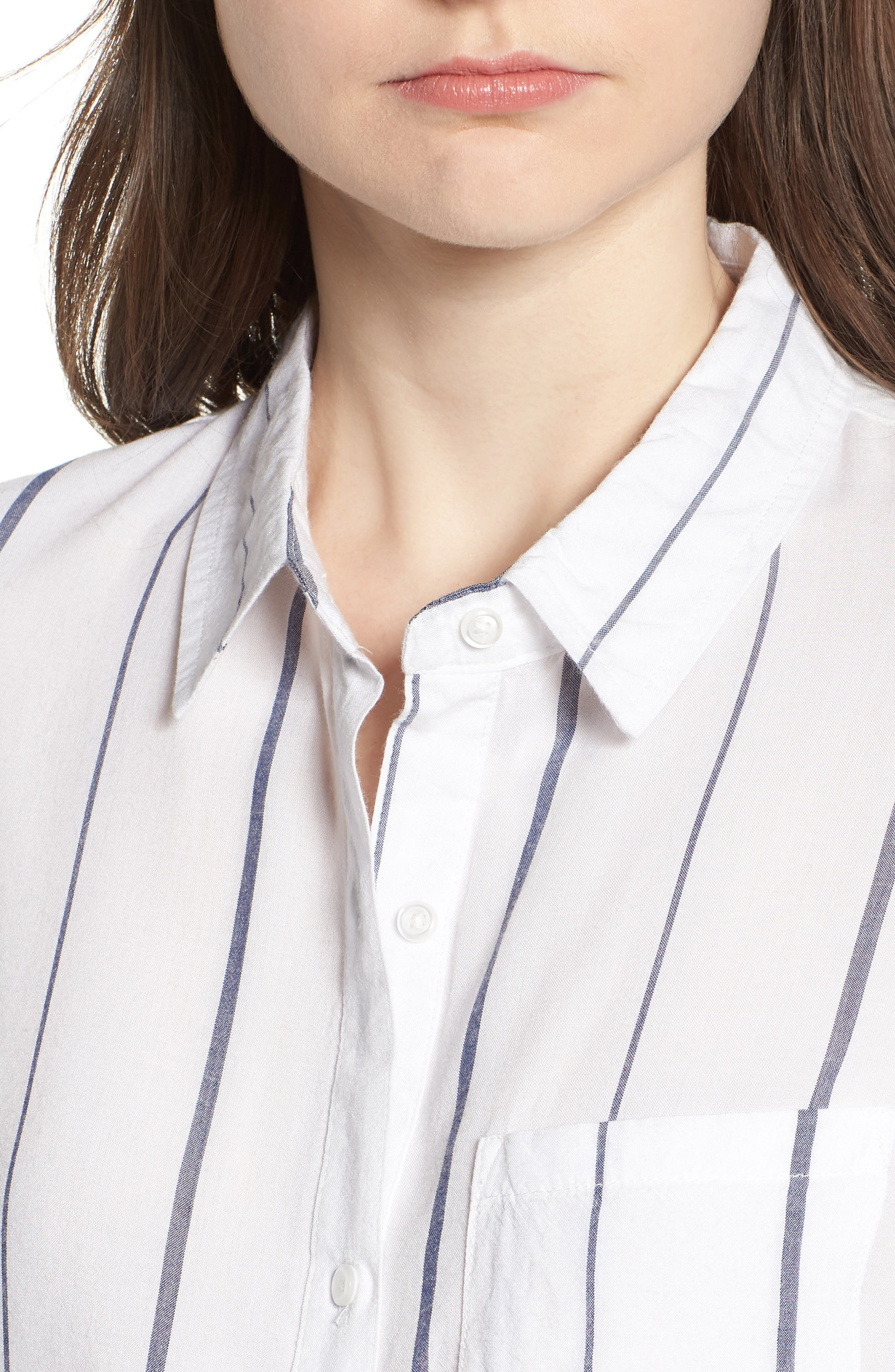 Canyons Stripe Shirt,                             Alternate thumbnail 4, color,                             White/ Navy Stripe