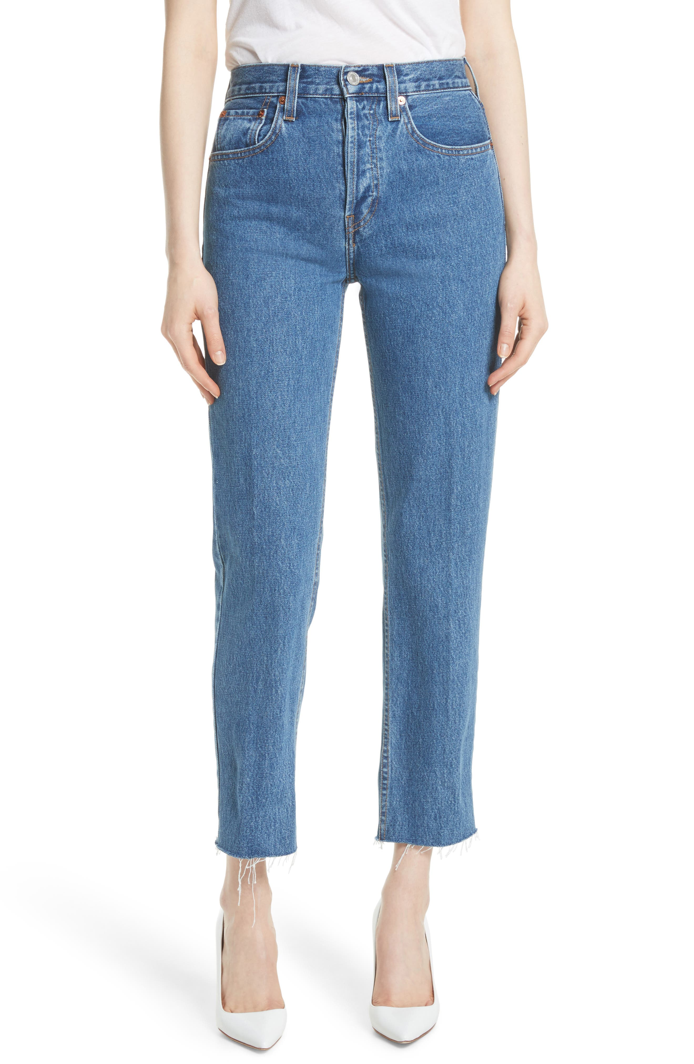 High Waist Stove Pipe Jeans,                             Main thumbnail 1, color,                             Med Vain