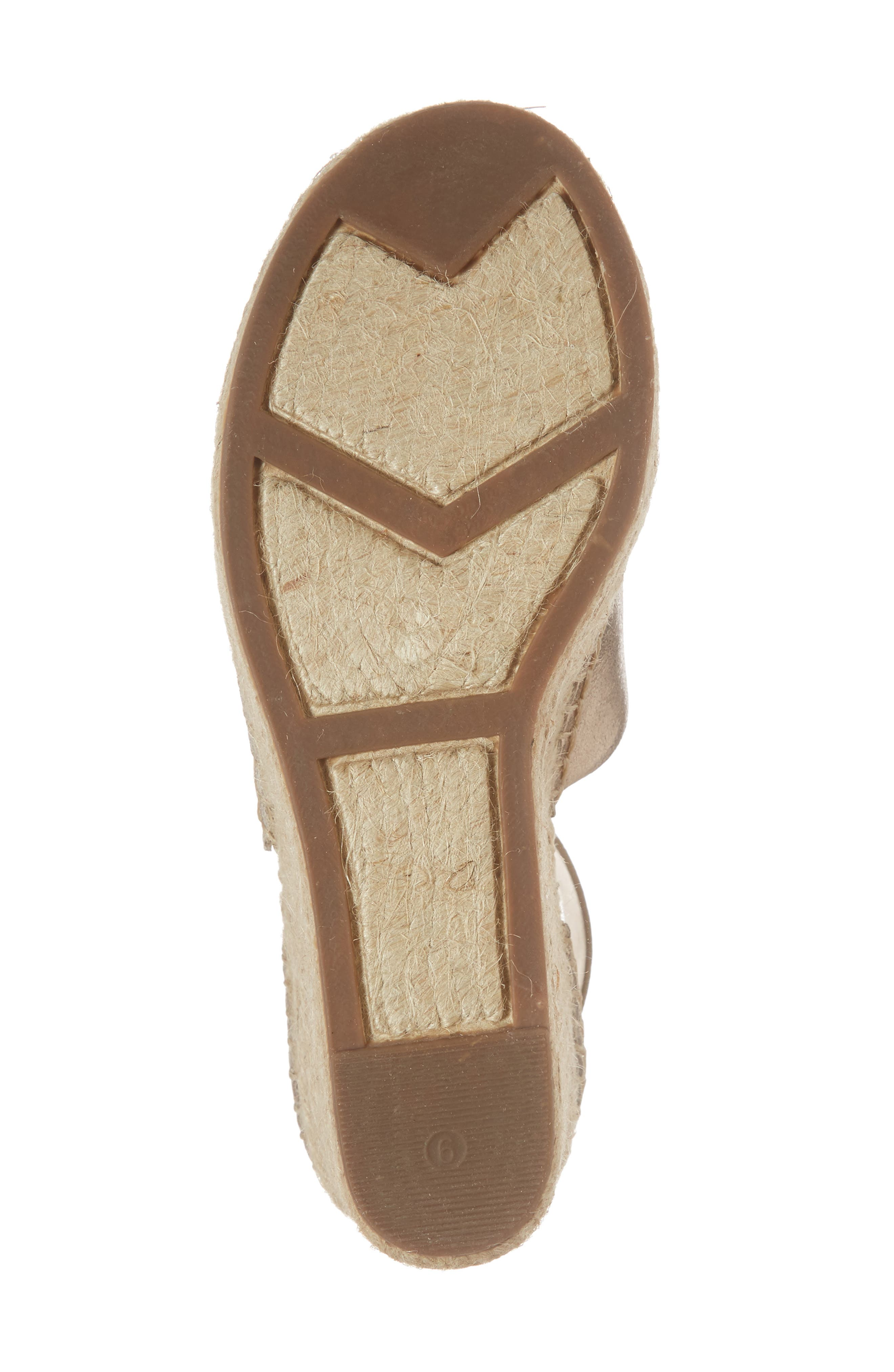 Adalyn Espadrille Wedge Sandal,                             Alternate thumbnail 6, color,                             Gold Leather