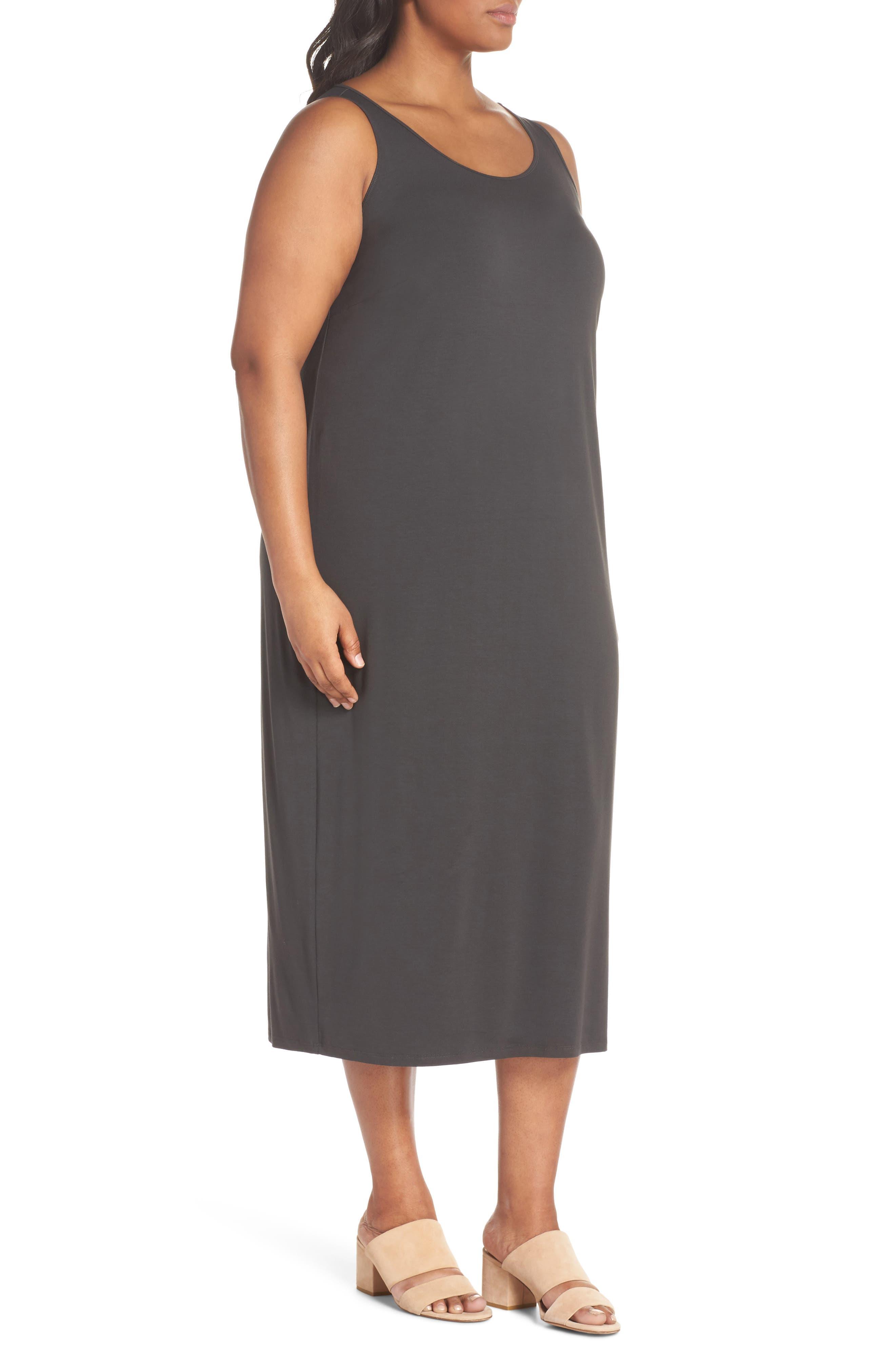Scoop Neck Jersey Dress,                             Alternate thumbnail 3, color,                             Graphite