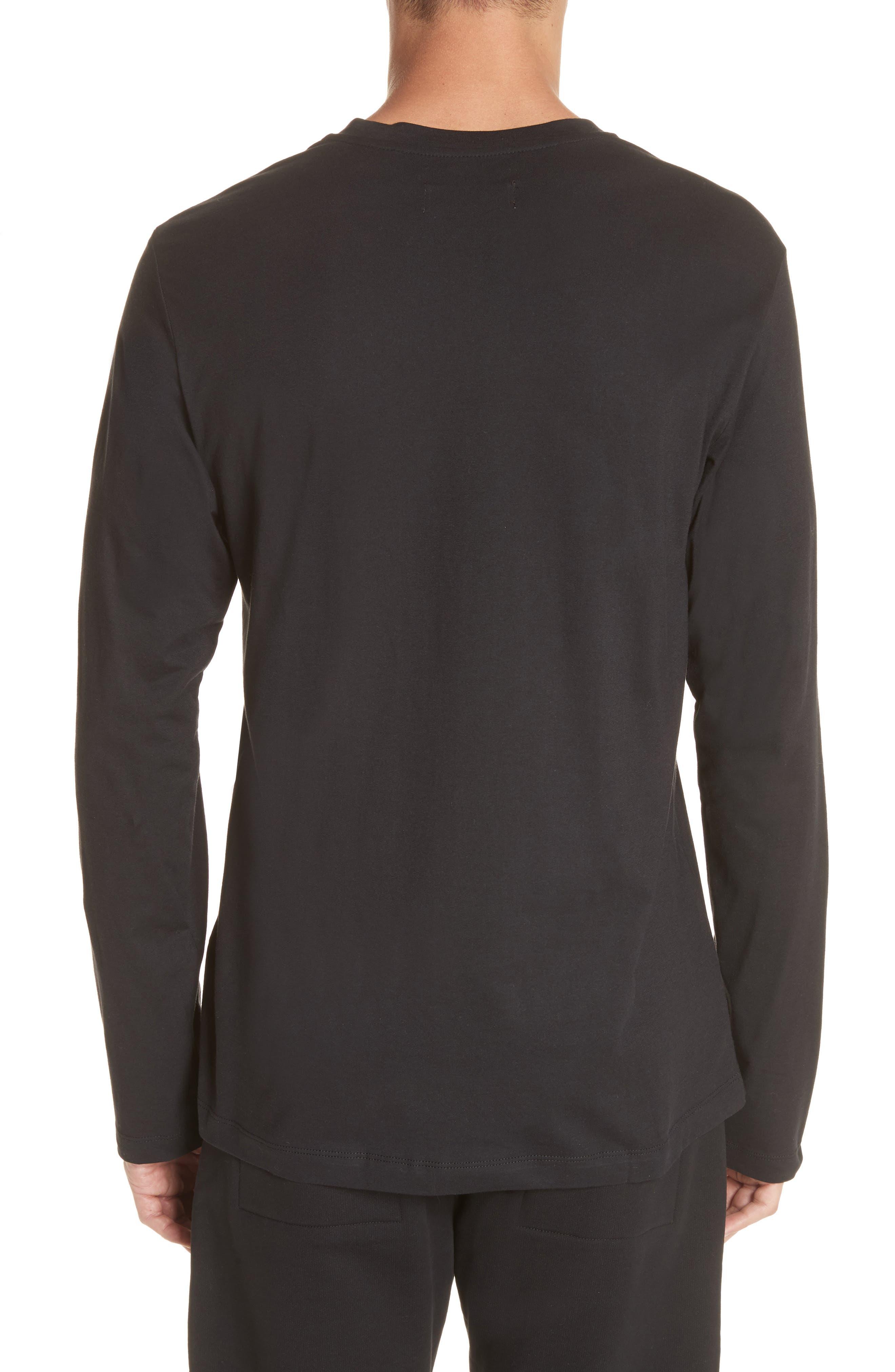 Cut Neck Long Sleeve T-Shirt,                             Alternate thumbnail 2, color,                             Black