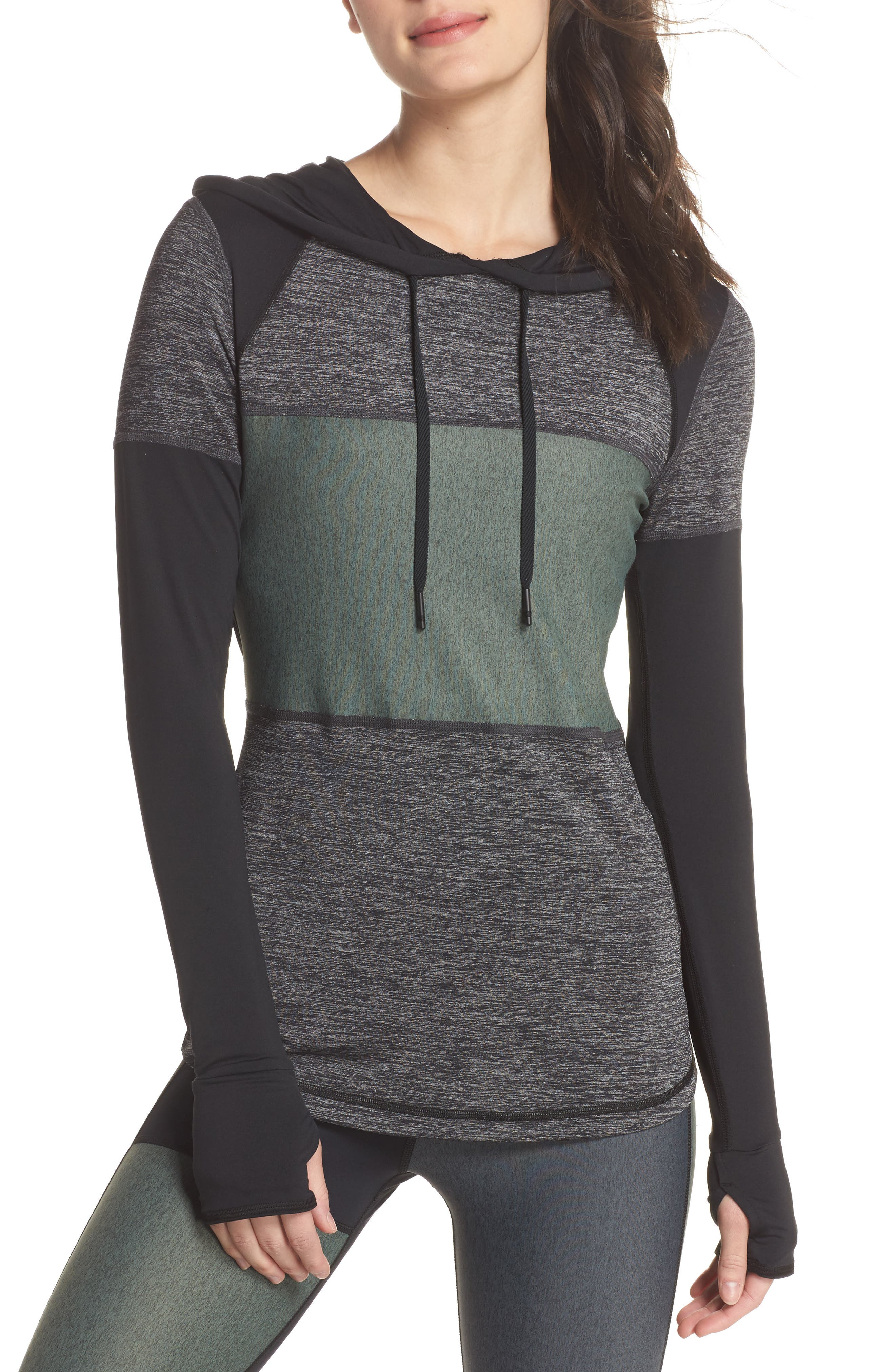 Patchwork Hoodie,                         Main,                         color, Black/ Moss/ Heather