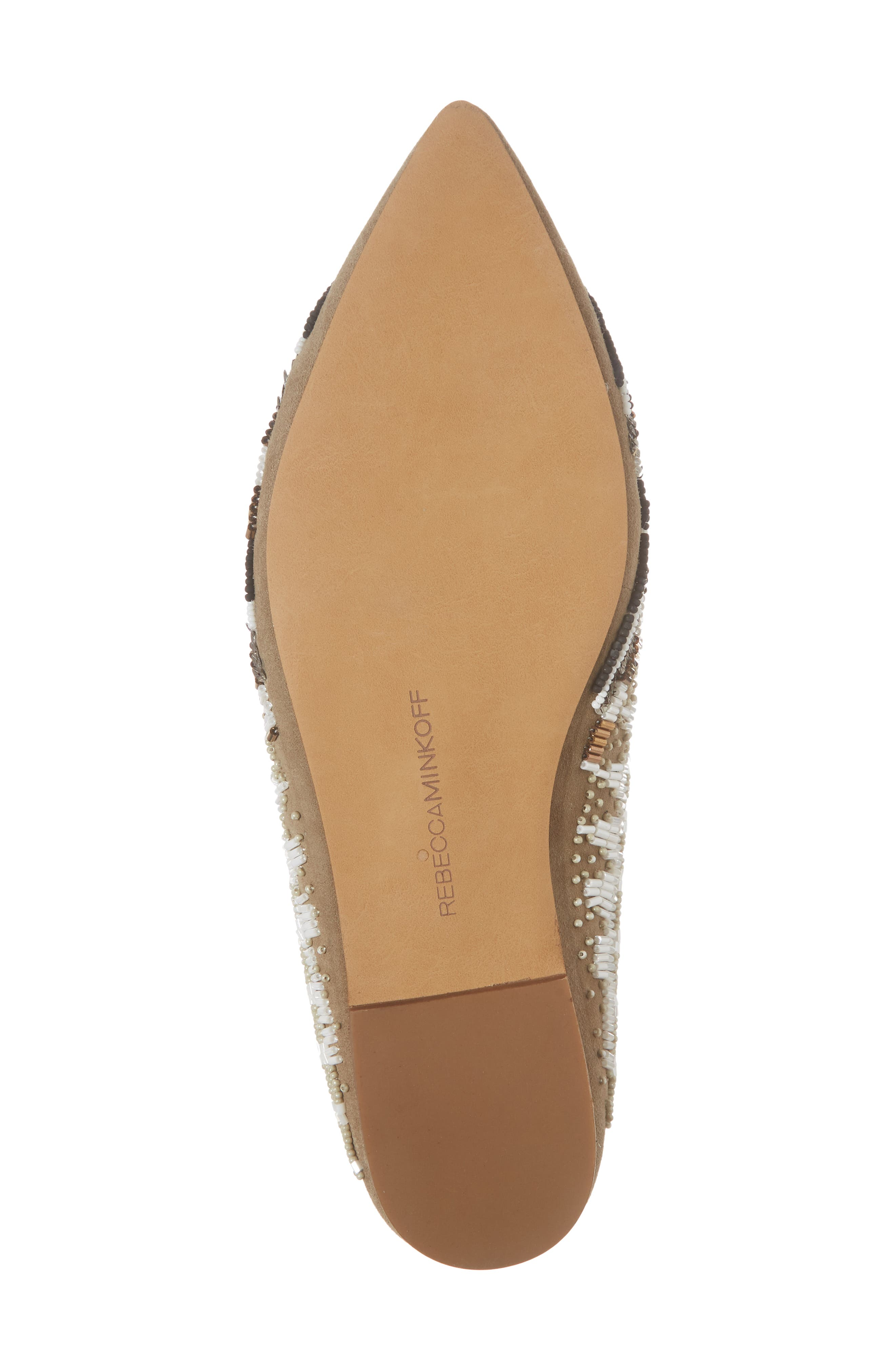 Roxane Beaded Flat Mule,                             Alternate thumbnail 6, color,                             Taupe Suede