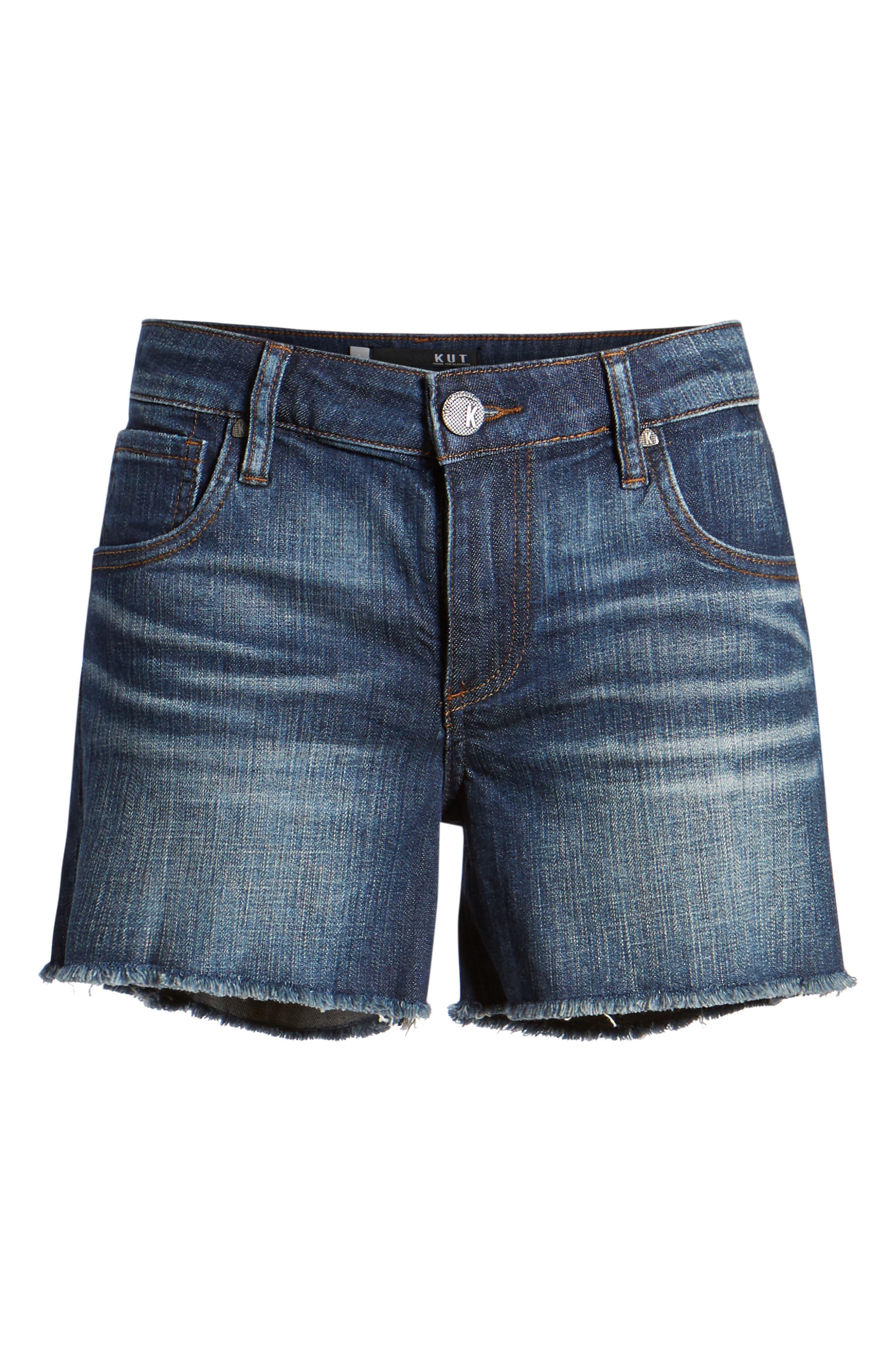 KUT Kollection Gidget Cutoff Denim Shorts,                             Alternate thumbnail 6, color,                             Refine