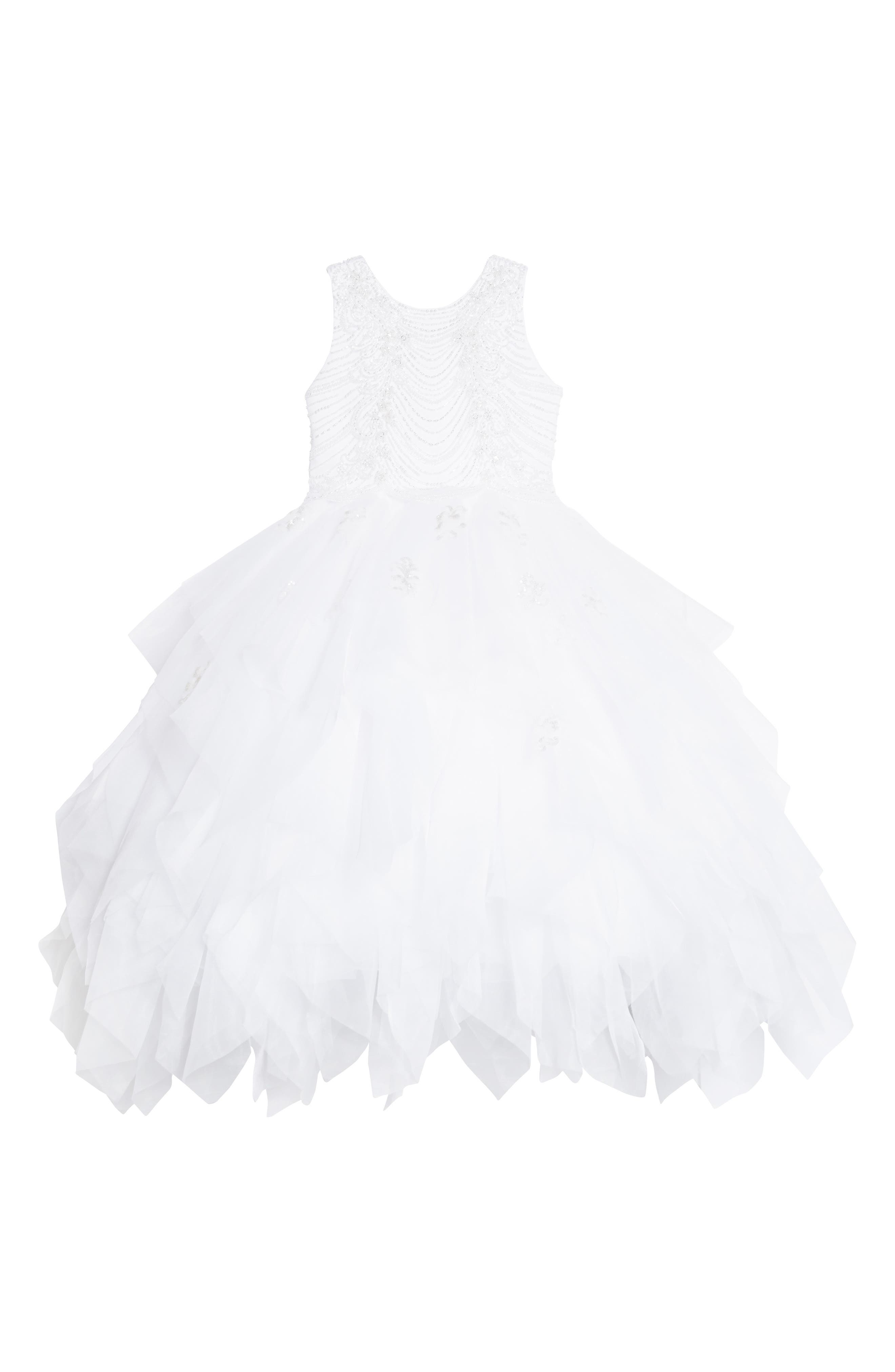 Beaded Tulle First Communion Dress,                         Main,                         color, White