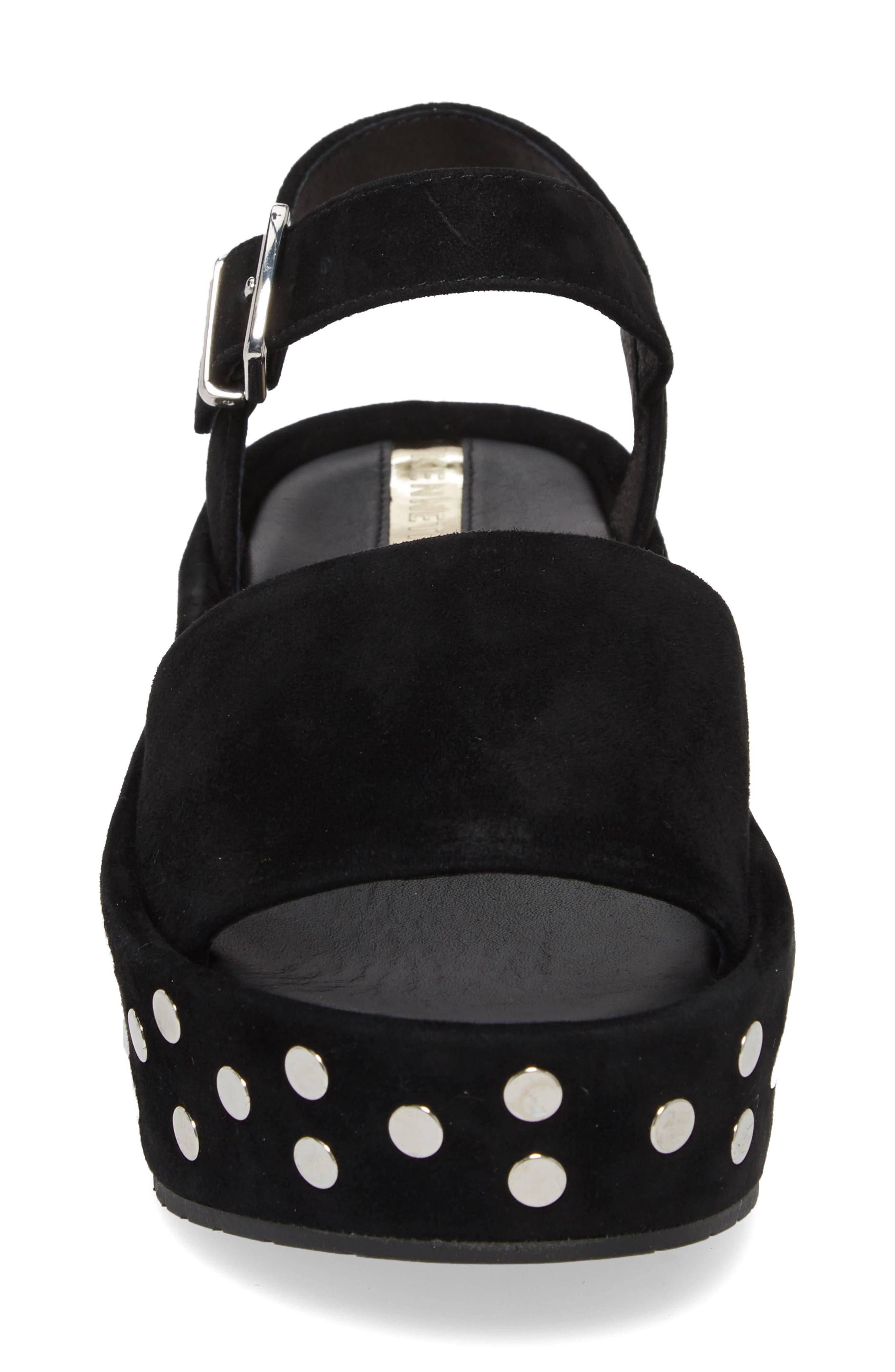 Danton Studs Platform Sandal,                             Alternate thumbnail 4, color,                             Black Suede