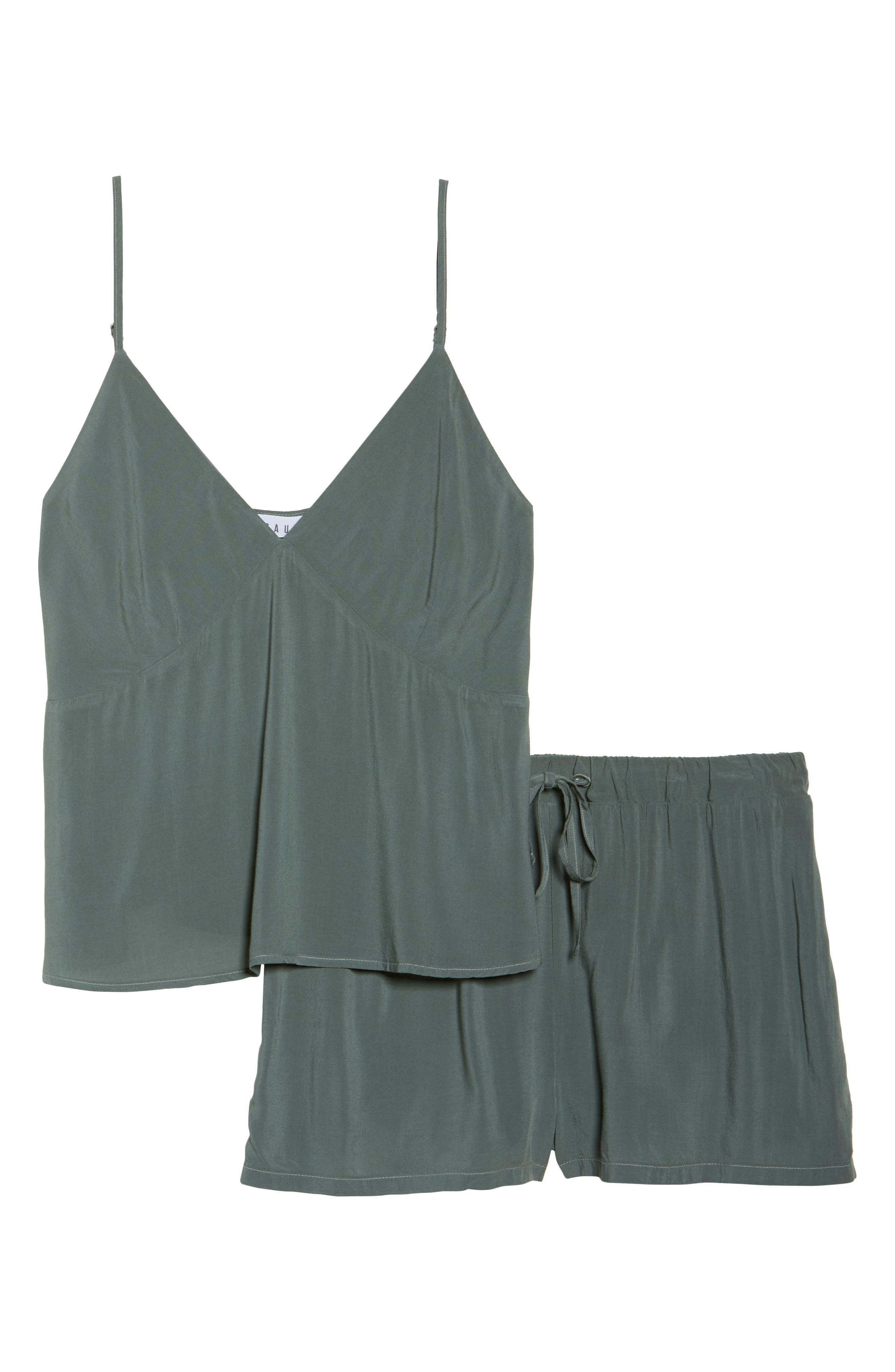 Poppy Short & Camisole Pajamas,                             Alternate thumbnail 4, color,                             Sage