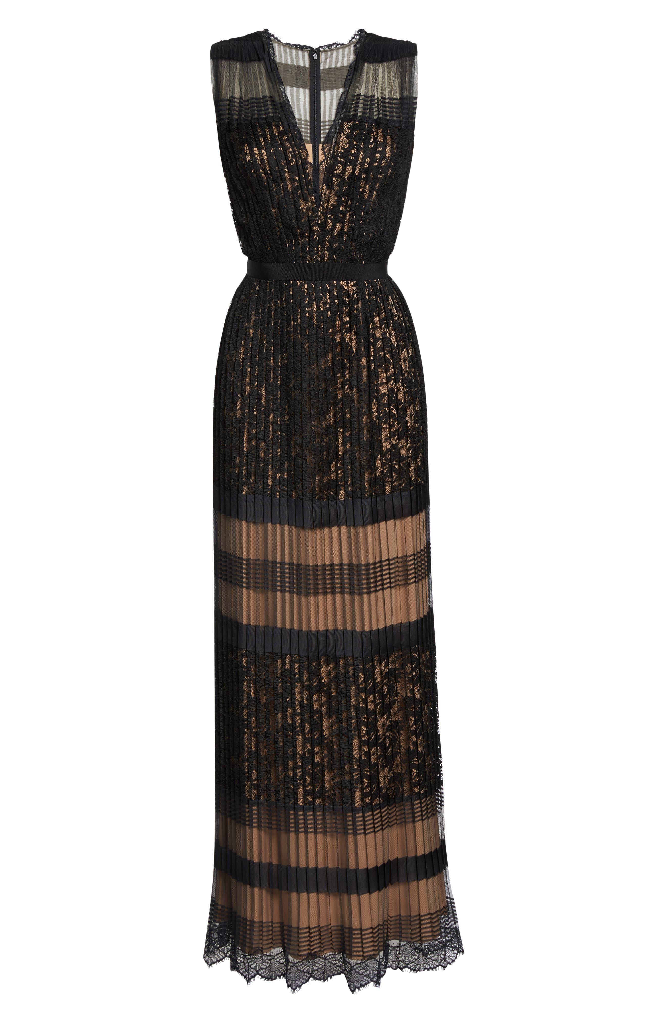 Pleated Lace Gown,                             Alternate thumbnail 6, color,                             Black/ Nude