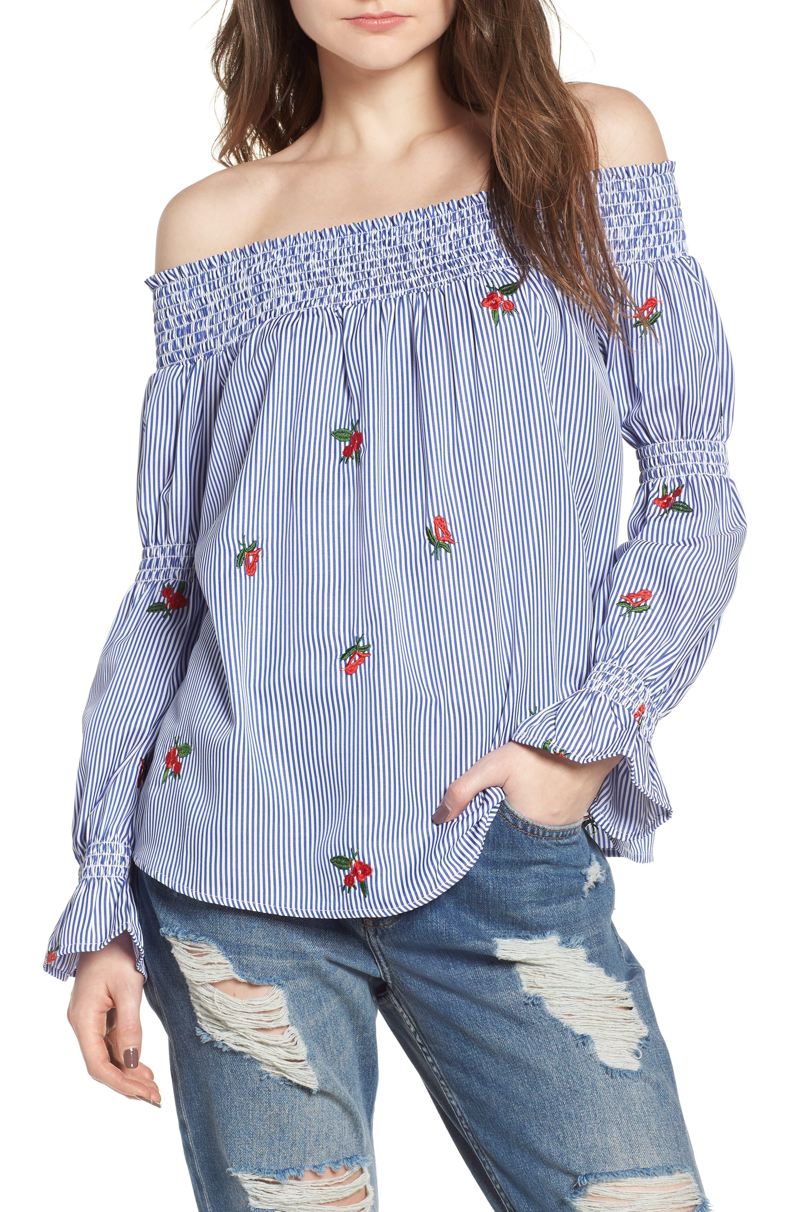 Soprano Floral Embroidered Stripe Off the Shoulder Top