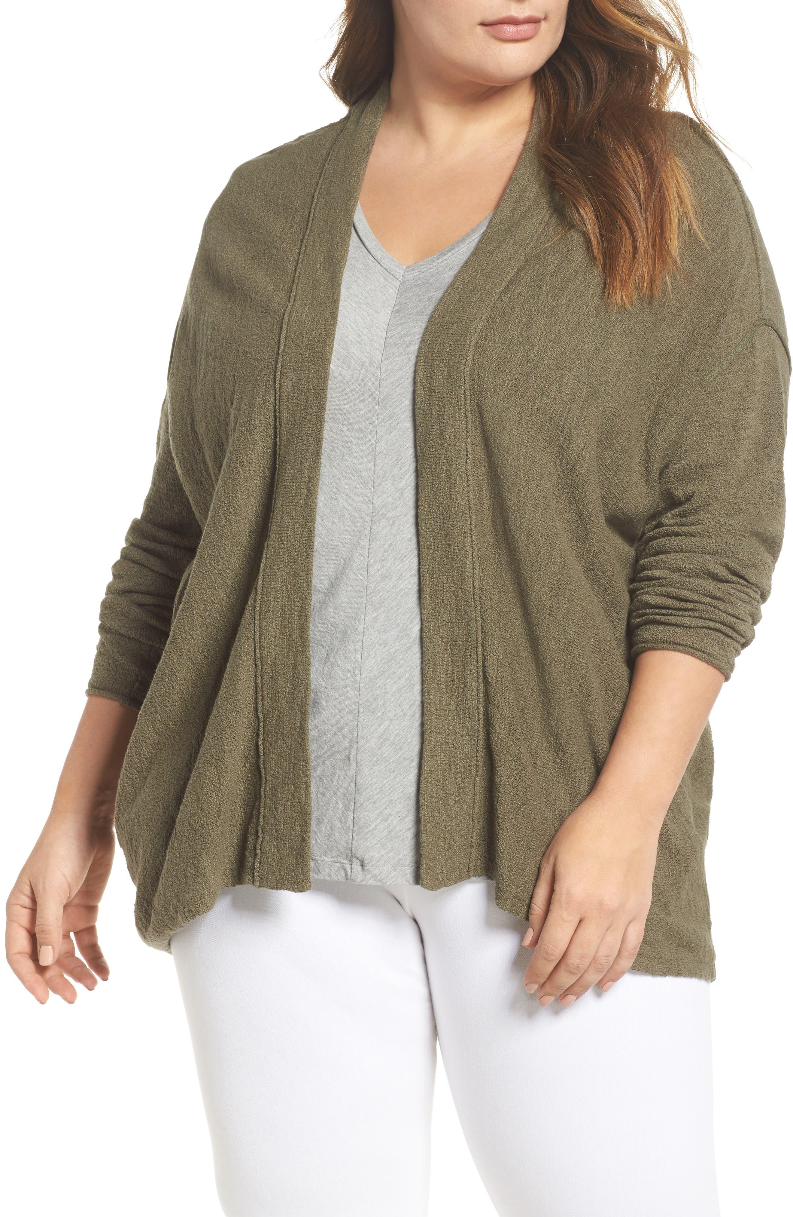 Drop Shoulder Cardigan,                         Main,                         color, Olive Kalamata