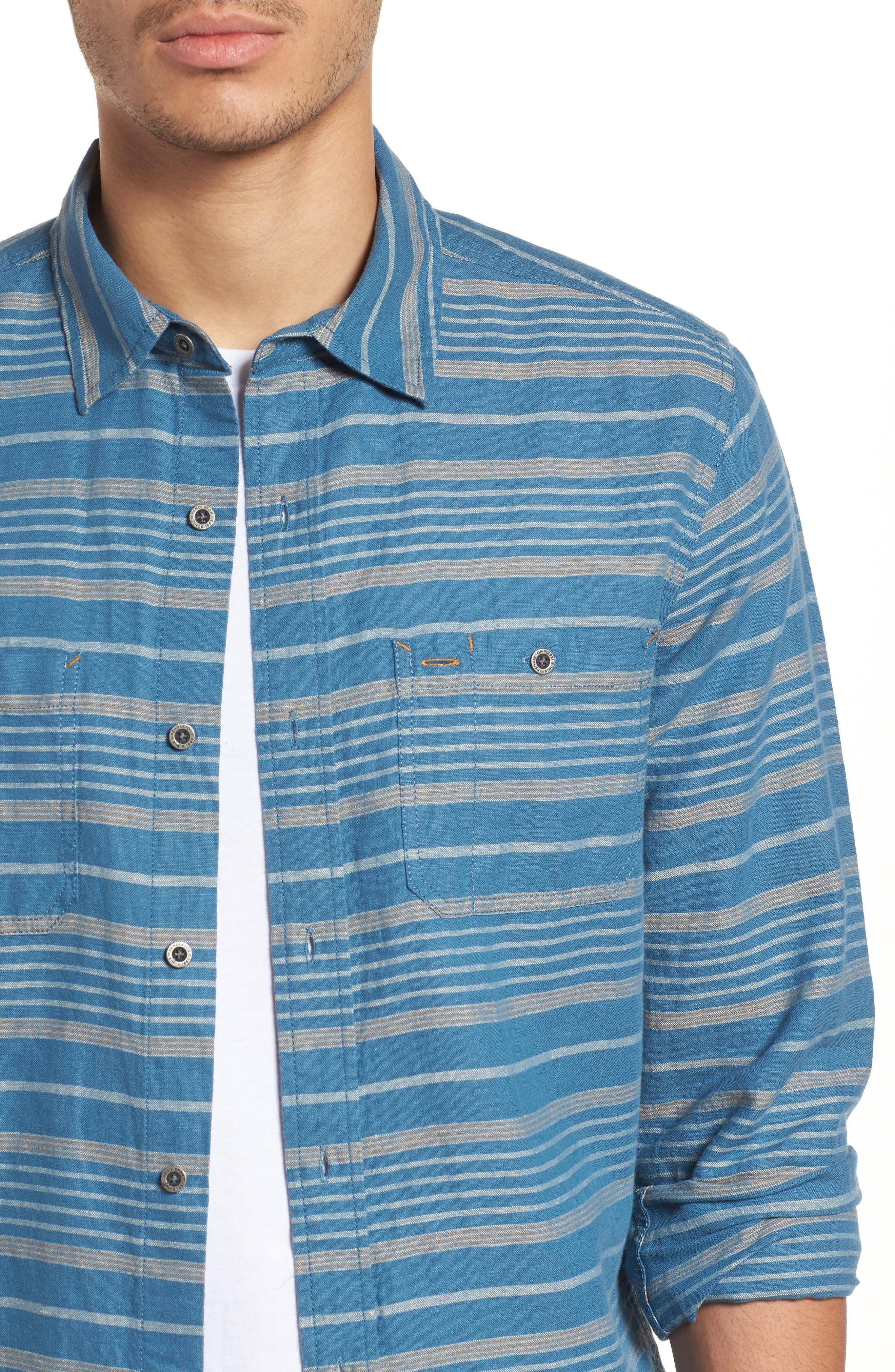 Kay Street Fitted Shirt,                             Alternate thumbnail 4, color,                             Navy/ Cream Stripe
