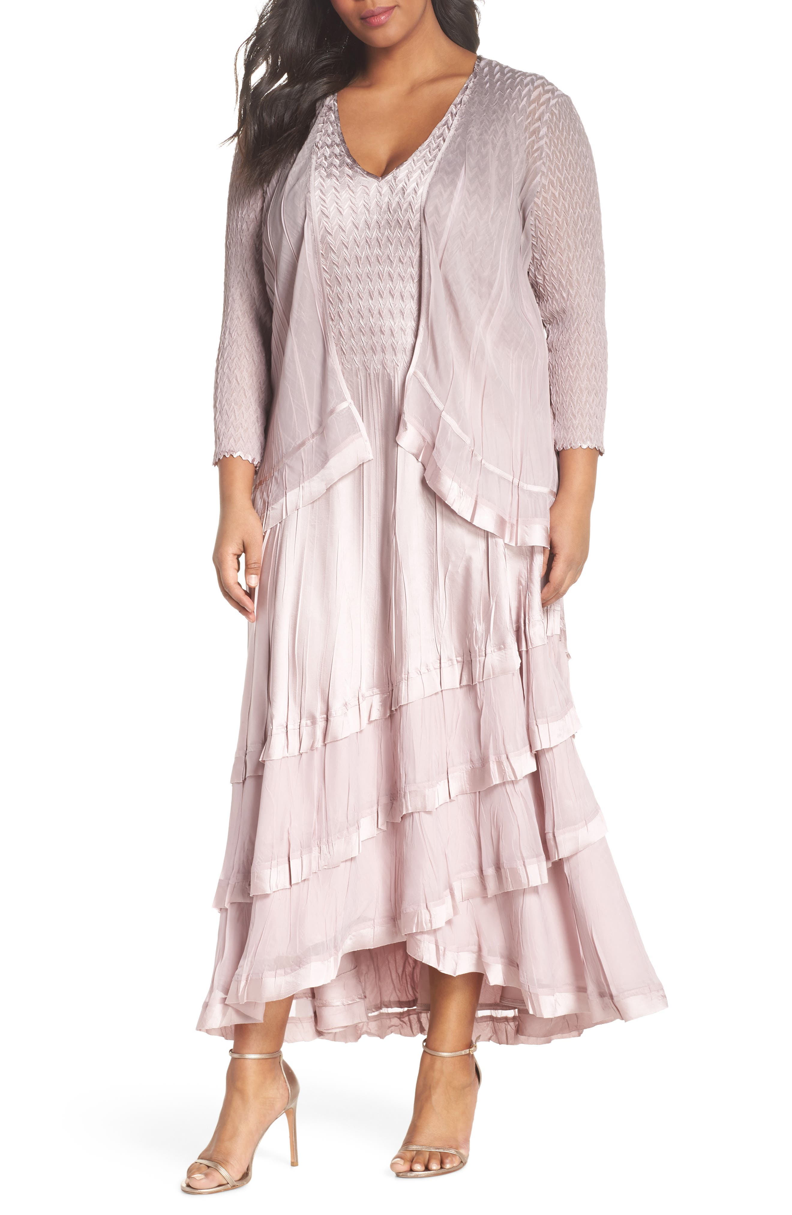 Tiered Maxi Dress with Jacket,                             Main thumbnail 1, color,                             Lotus Smoke Ombre