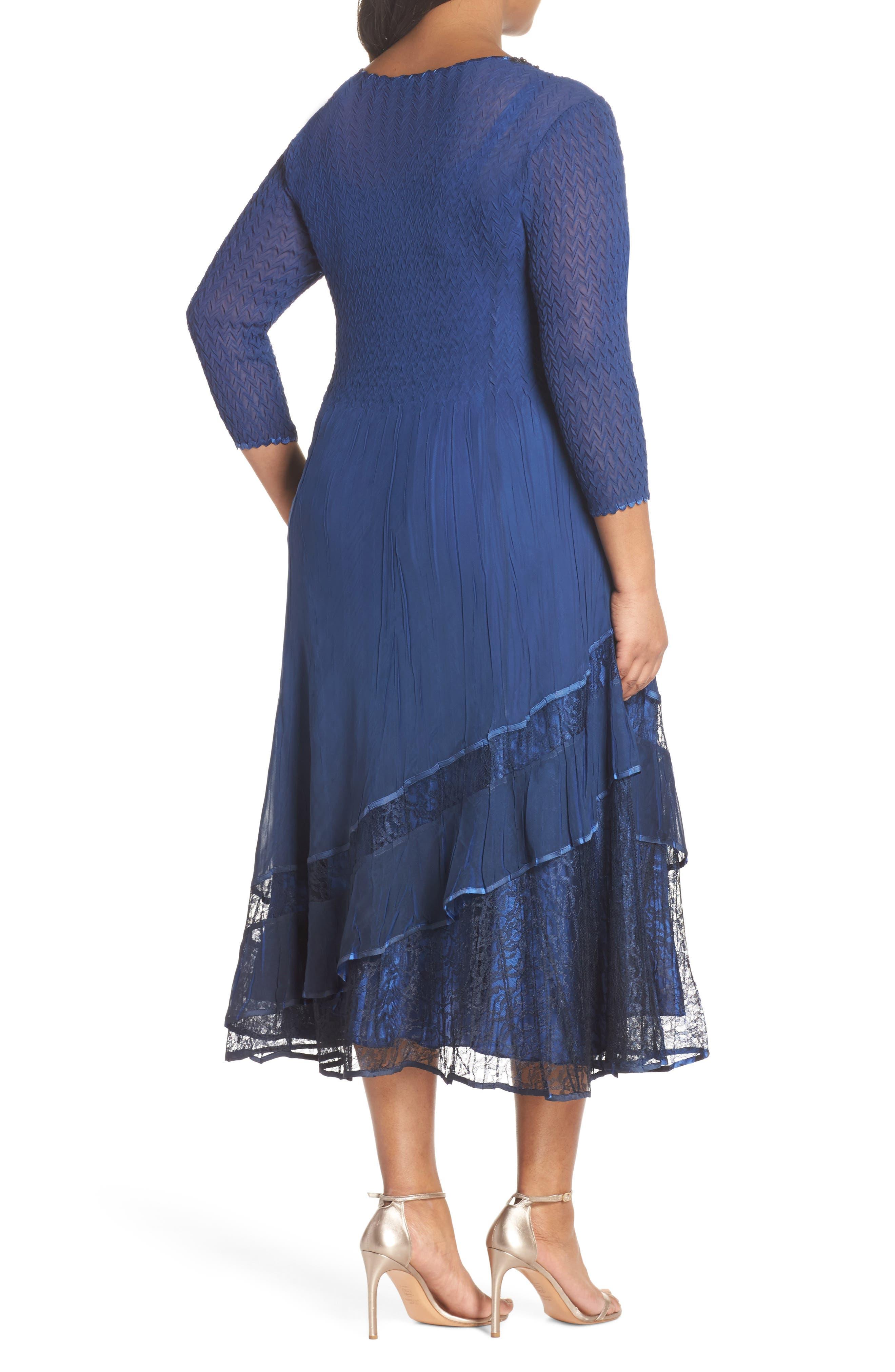 Charmeuse & Chiffon A-Line Dress,                             Alternate thumbnail 2, color,                             Navy Black Ombre