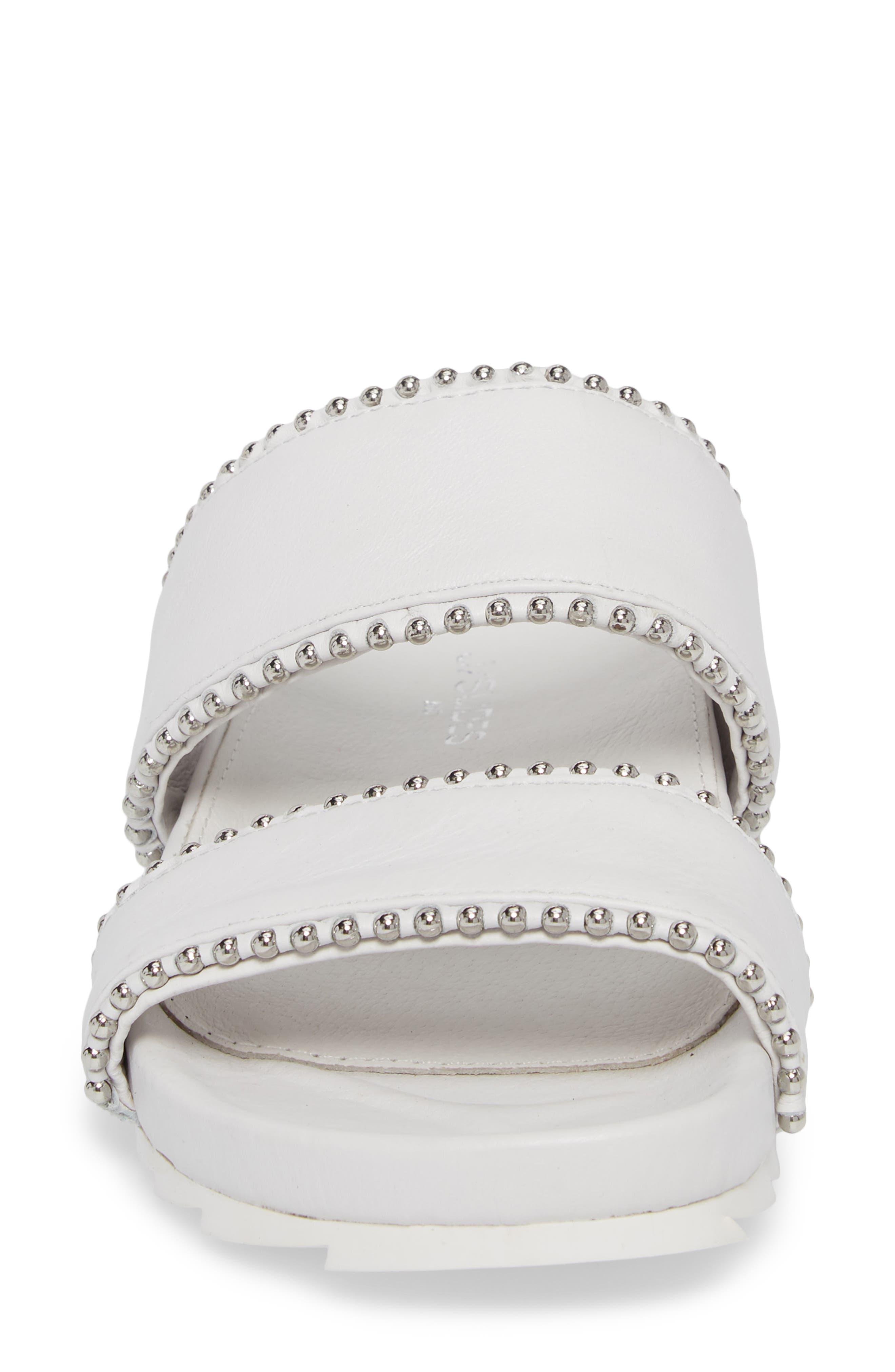 Emmie Bead Chain Slide Sandal,                             Alternate thumbnail 4, color,                             White Leather