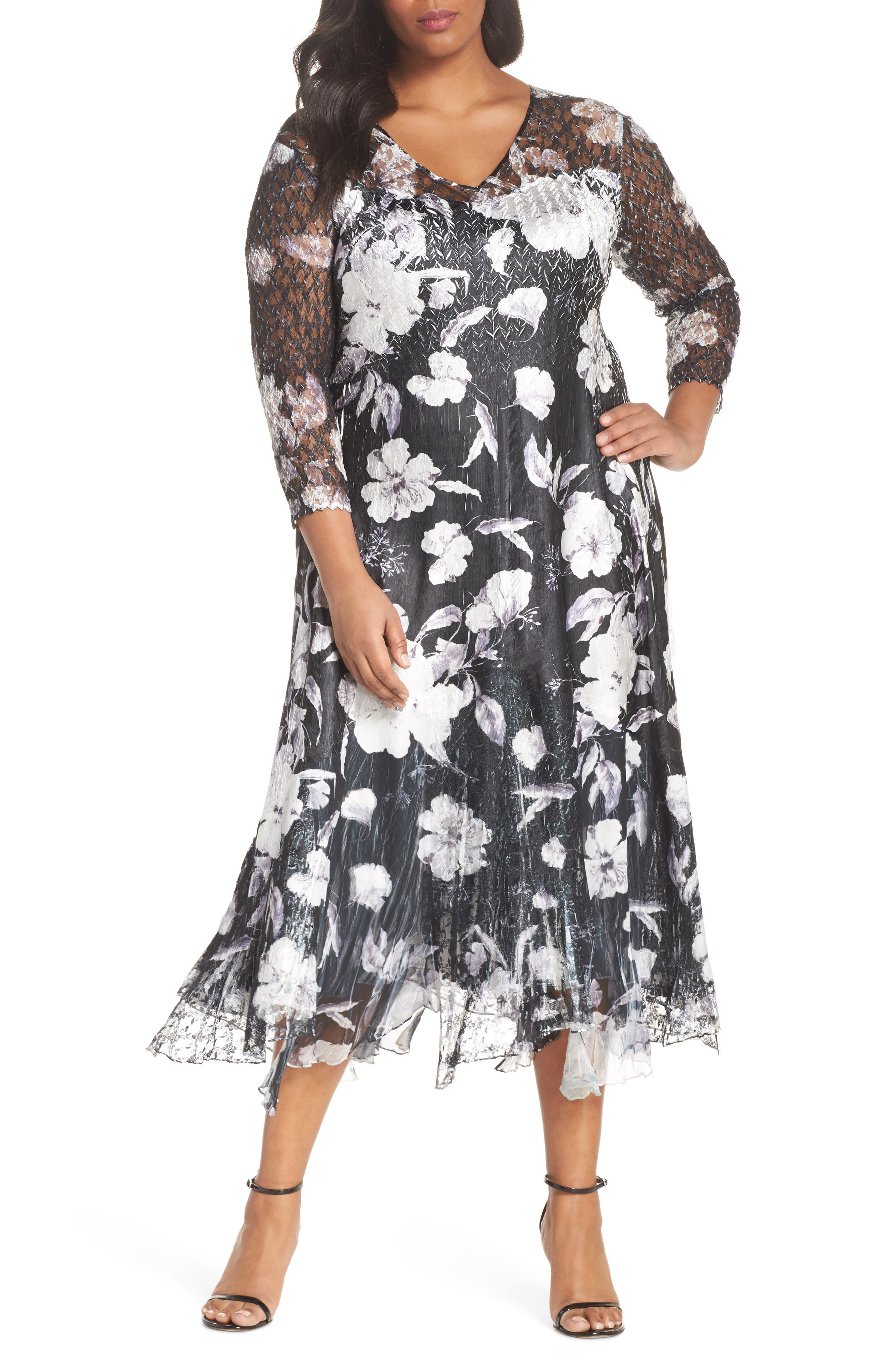 Charmeuse A-Line Dress,                         Main,                         color, Floral Night