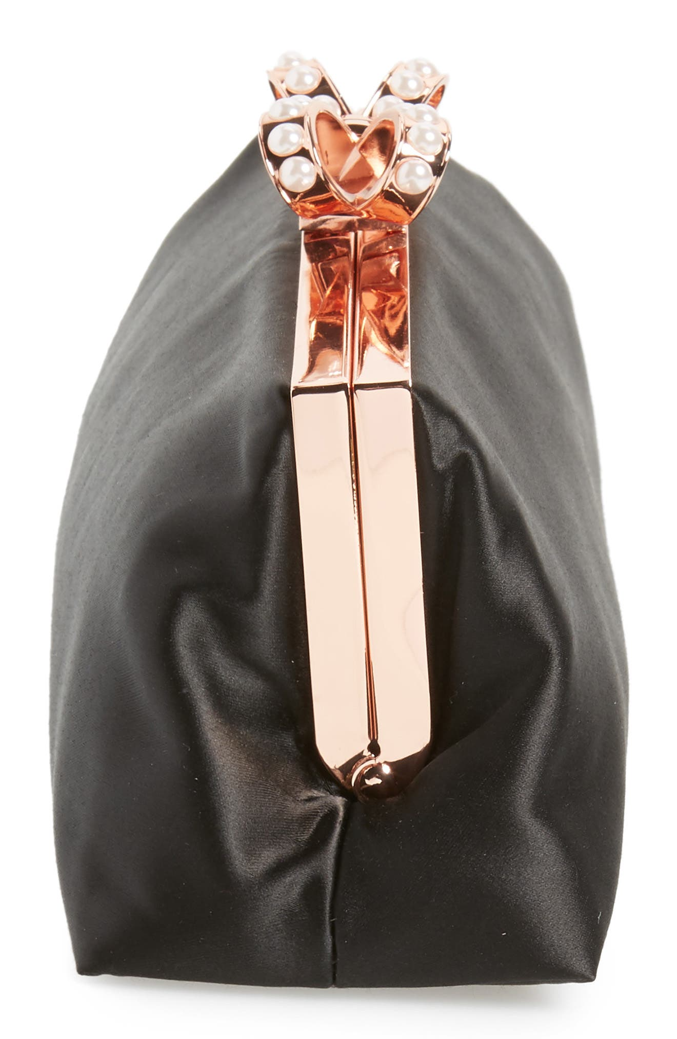 Georgaa Bow Clasp Evening Bag,                             Alternate thumbnail 5, color,                             Black