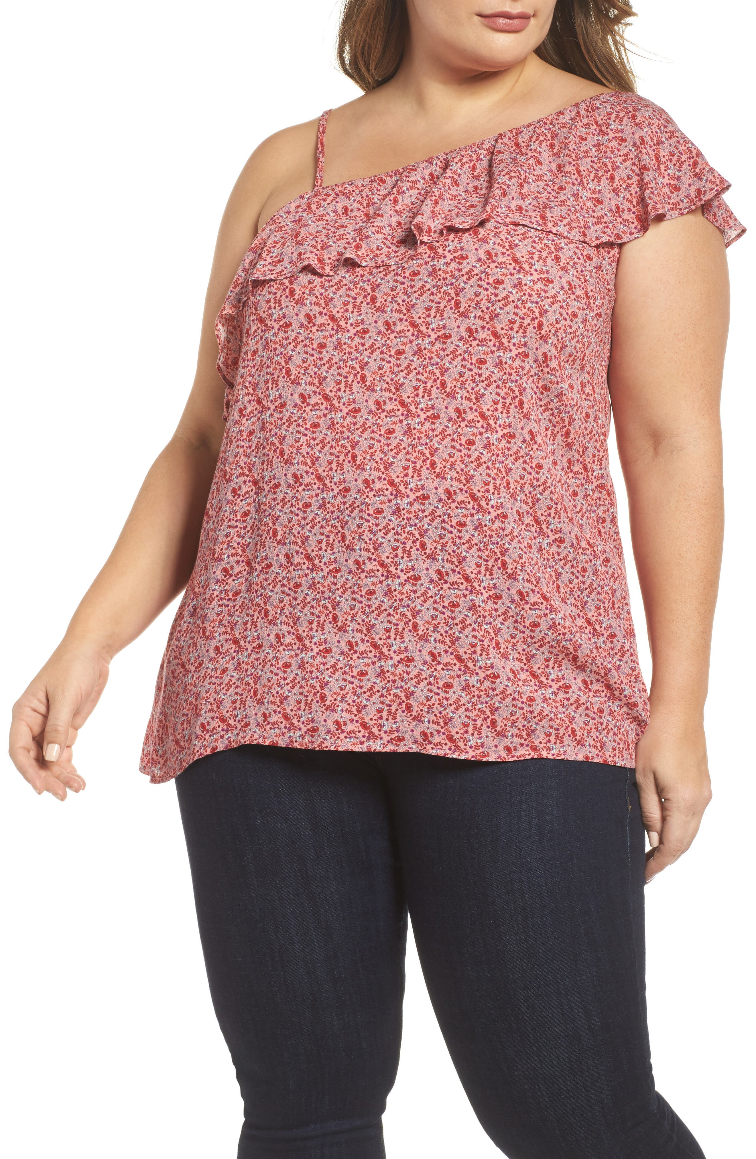 City Chic Baby Blossom One-Shoulder Blouse (Plus Size)