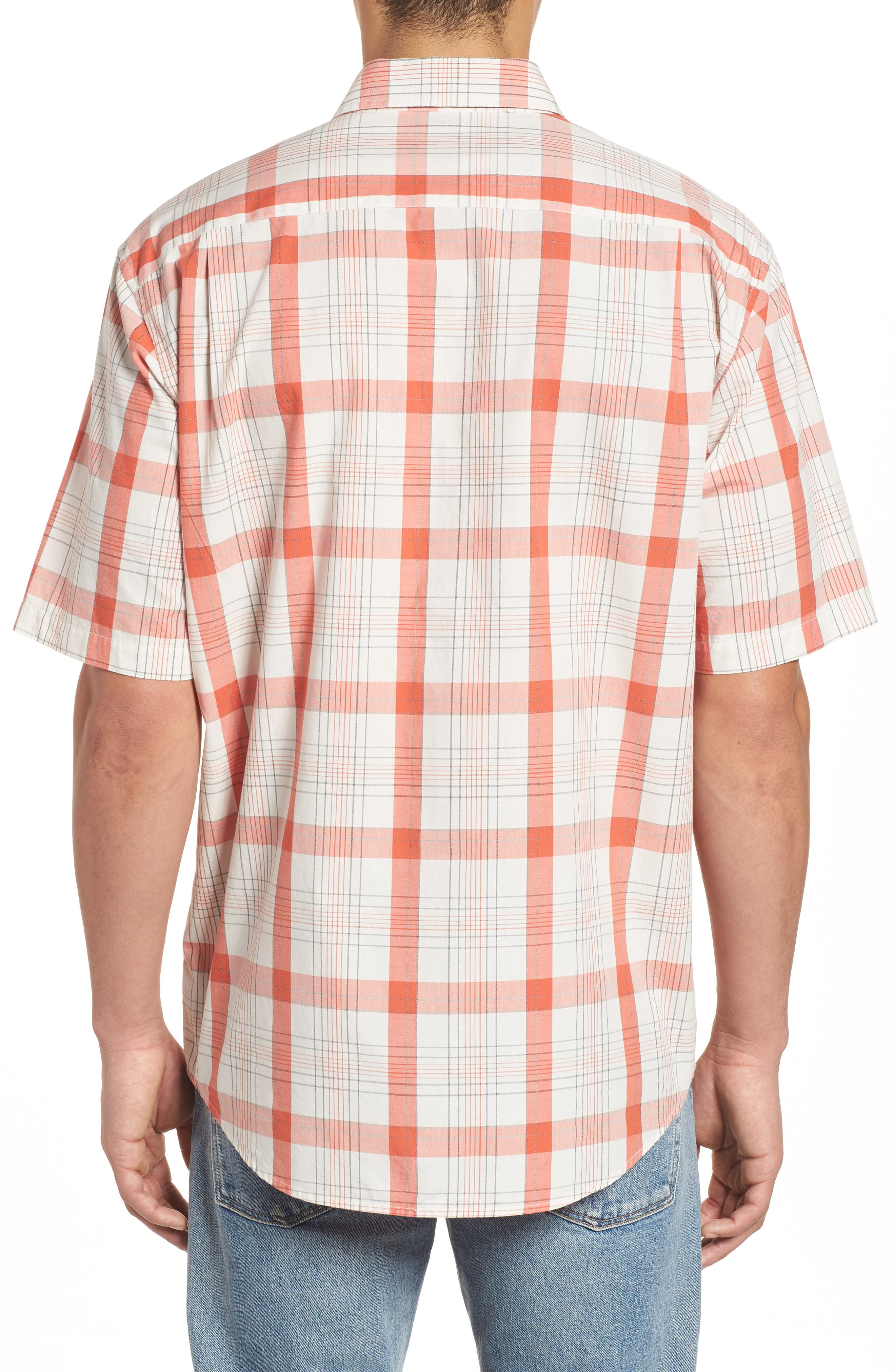 Clear Lake Short Sleeve Woven Shirt,                             Alternate thumbnail 3, color,                             Coral Plaid