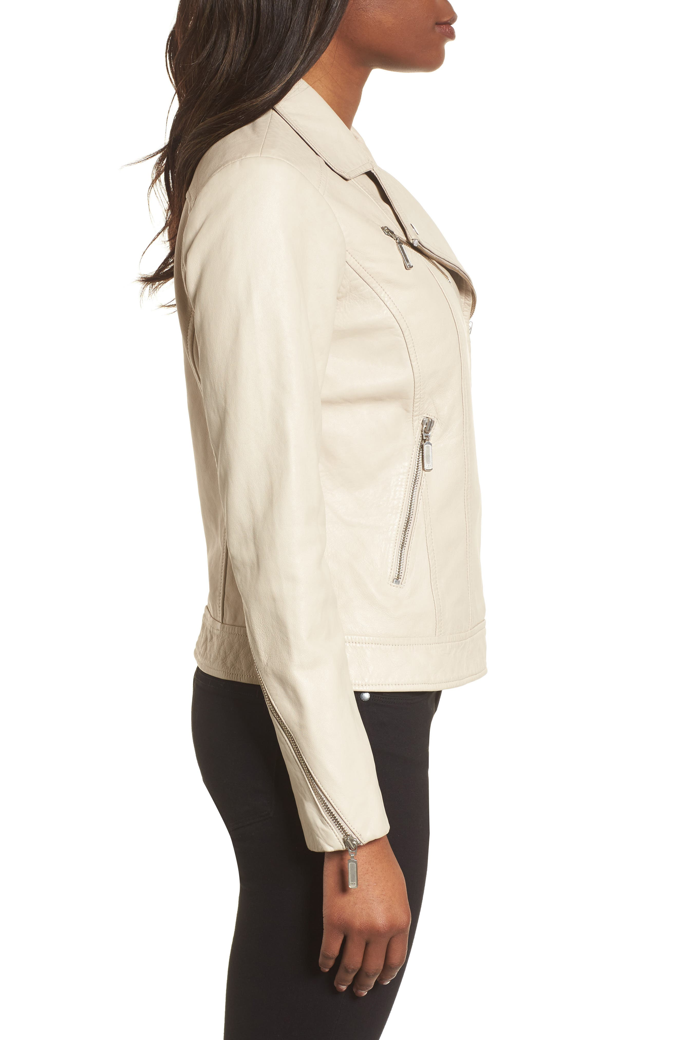 Moto Zip Leather Jacket,                             Alternate thumbnail 3, color,                             Champagne
