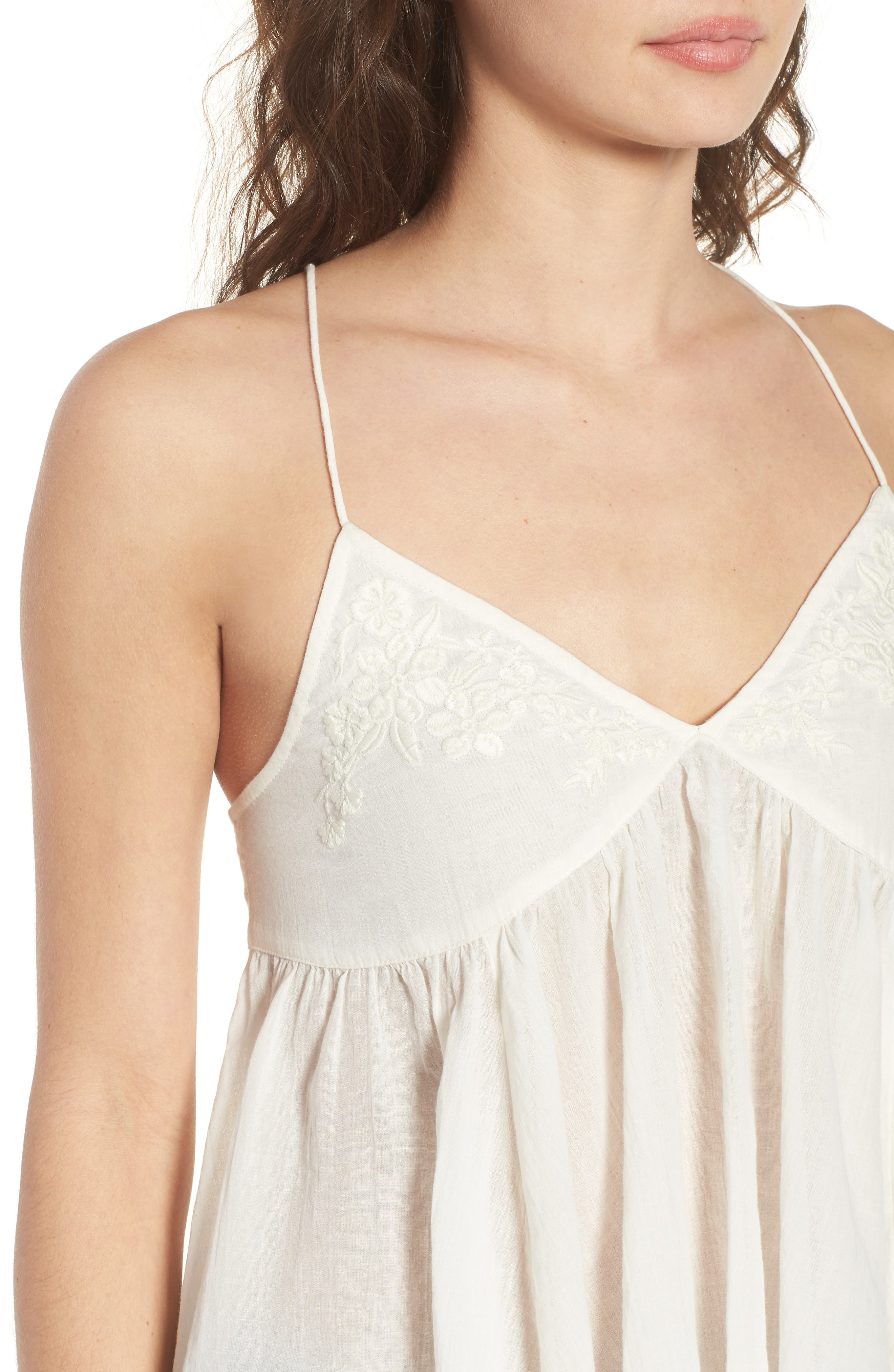 Embroidered Babydoll Tank,                             Alternate thumbnail 4, color,                             Ivory Egret