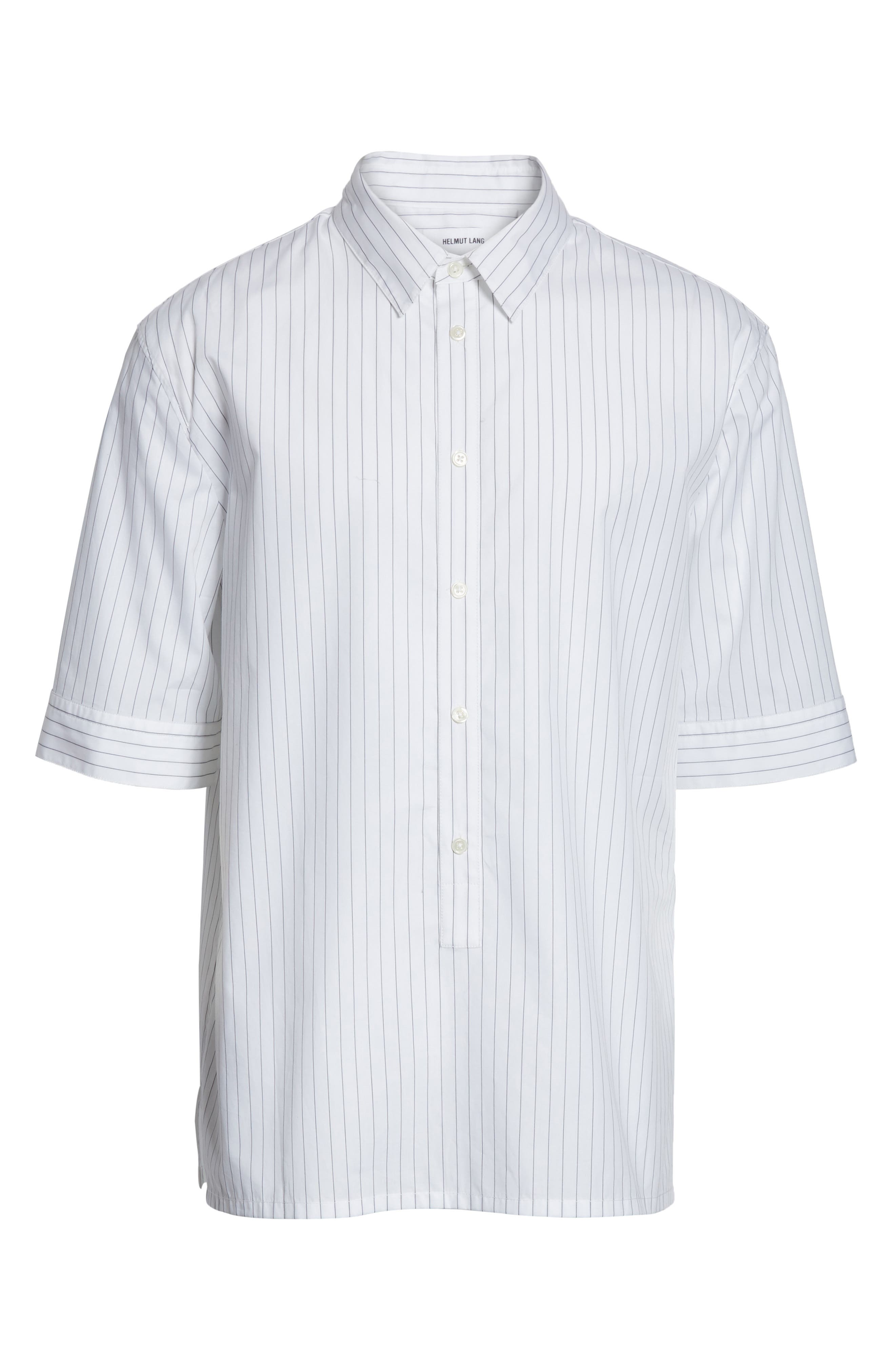 Elongated Placket Stripe Woven Shirt,                             Alternate thumbnail 6, color,                             White