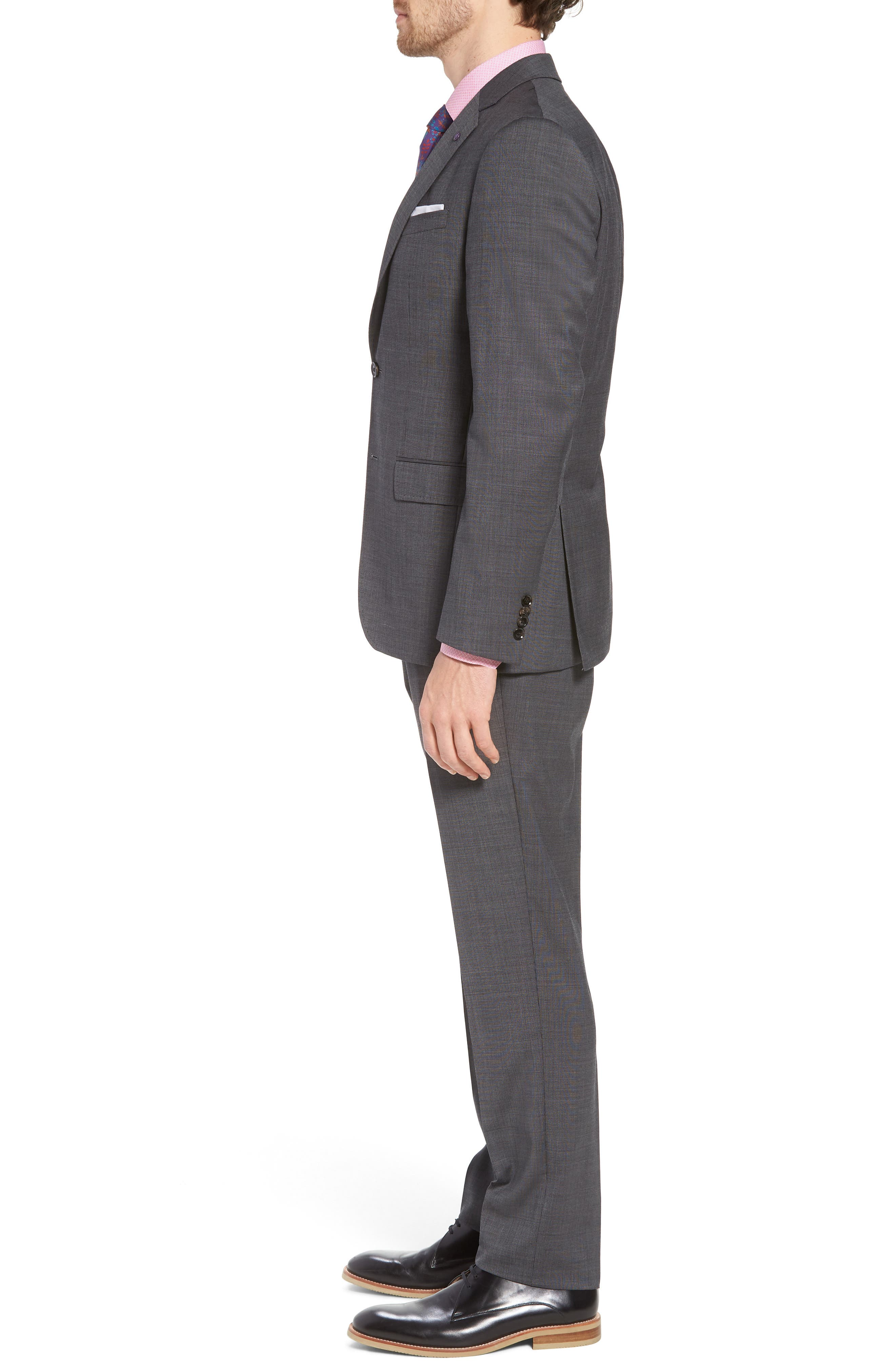 Jay Trim Fit Solid Wool Suit,                             Alternate thumbnail 3, color,                             Grey