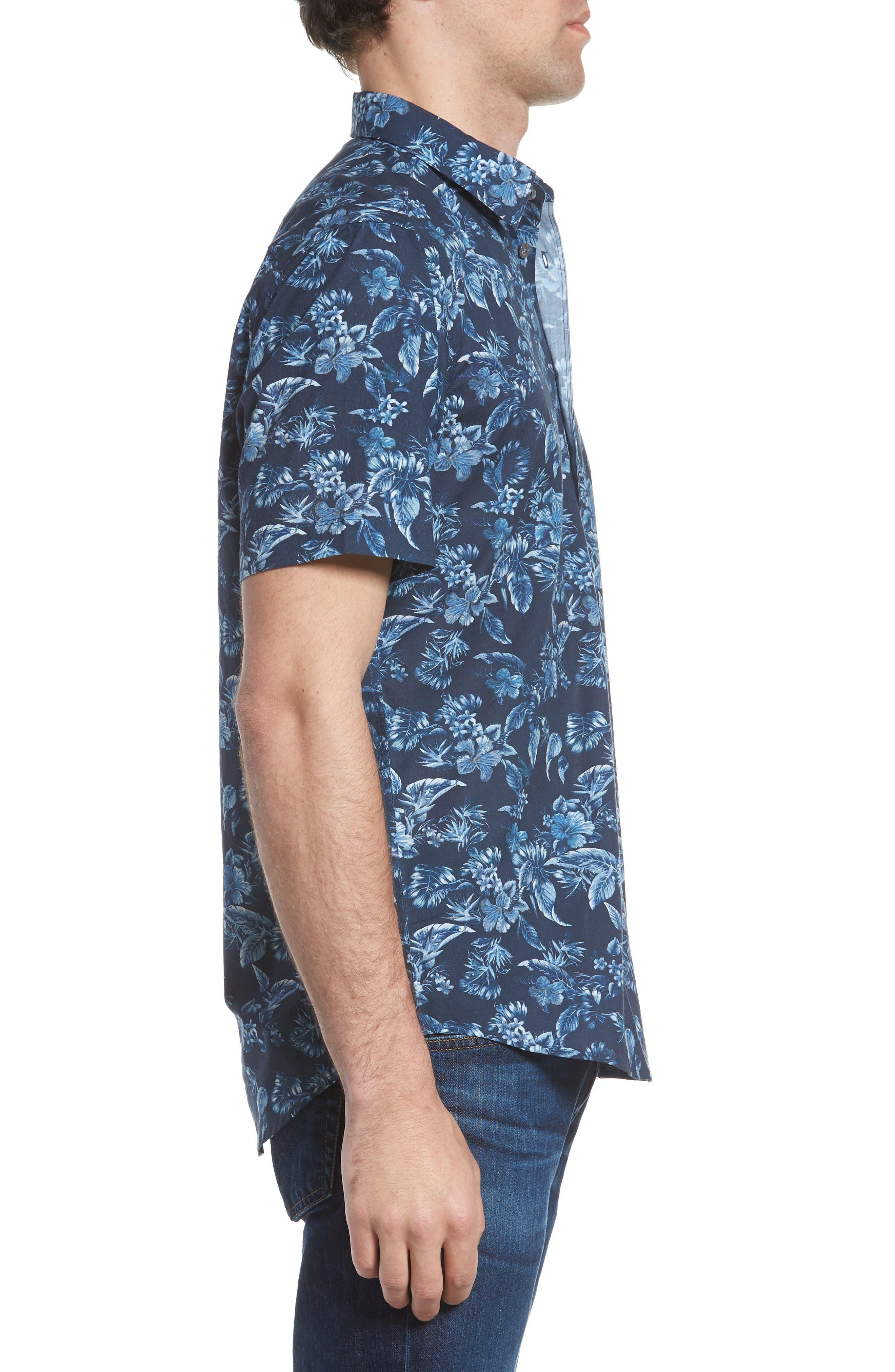 Califoras Regular Fit Print Sport Shirt,                             Alternate thumbnail 4, color,                             Navy