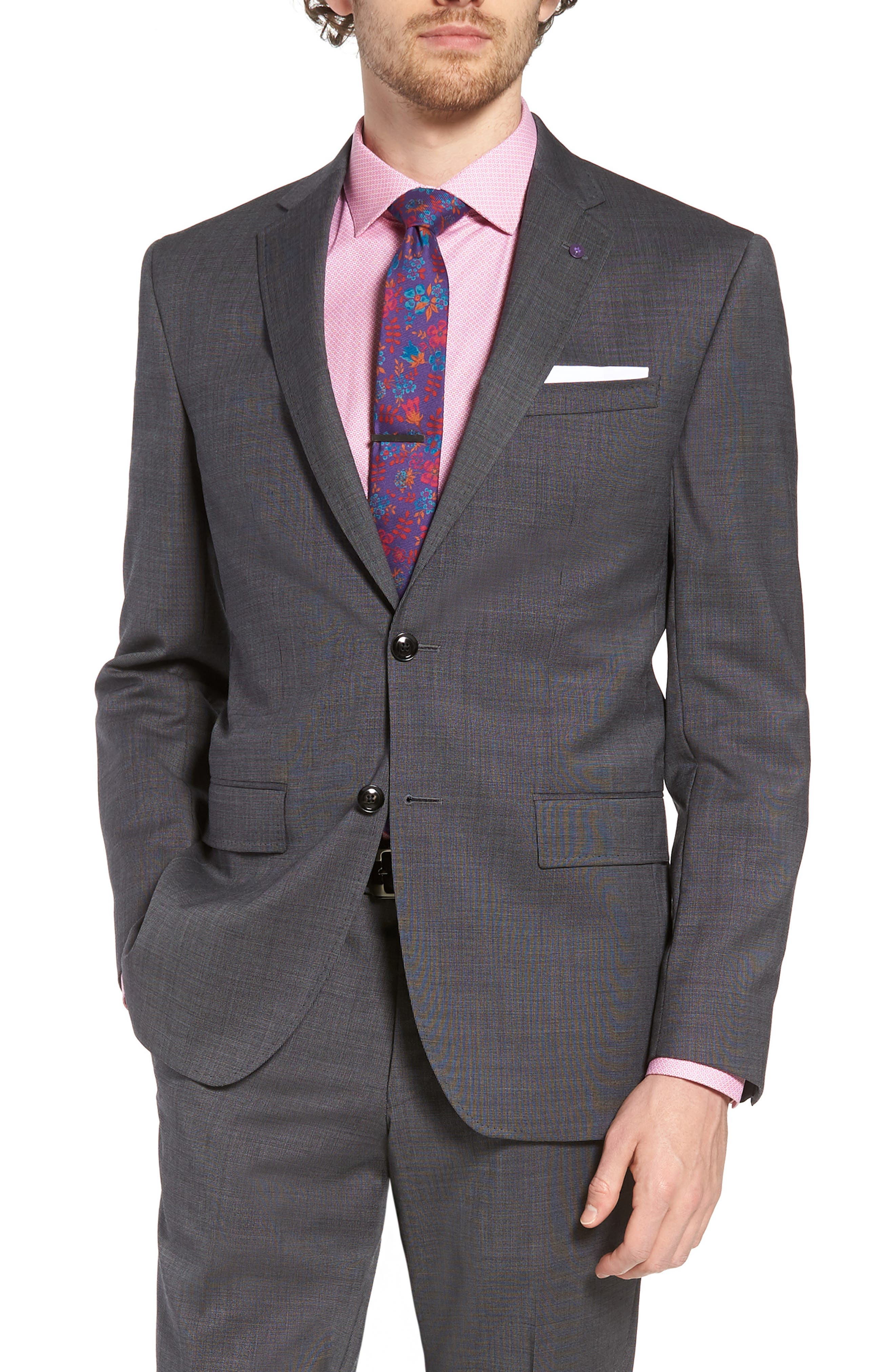 Jay Trim Fit Solid Wool Suit,                             Alternate thumbnail 5, color,                             Grey