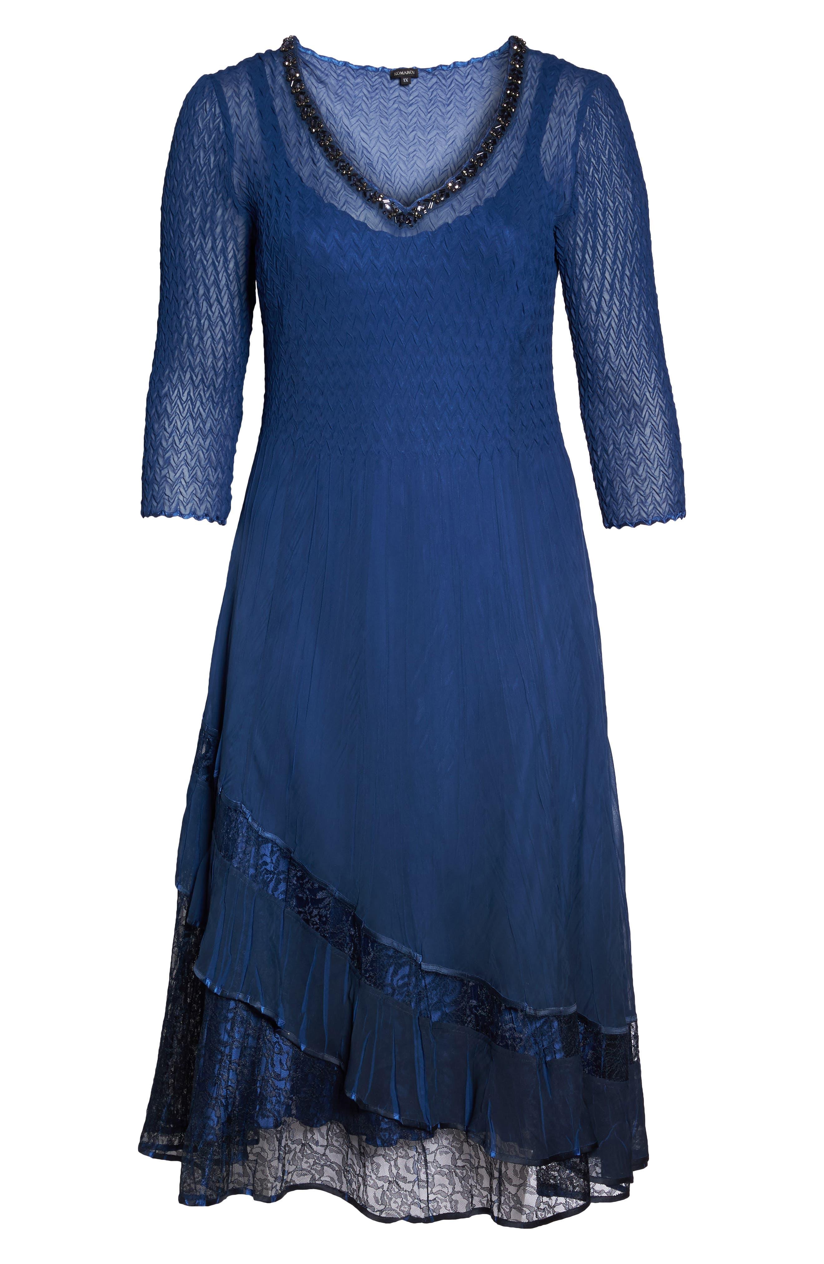 Charmeuse & Chiffon A-Line Dress,                             Alternate thumbnail 6, color,                             Navy Black Ombre