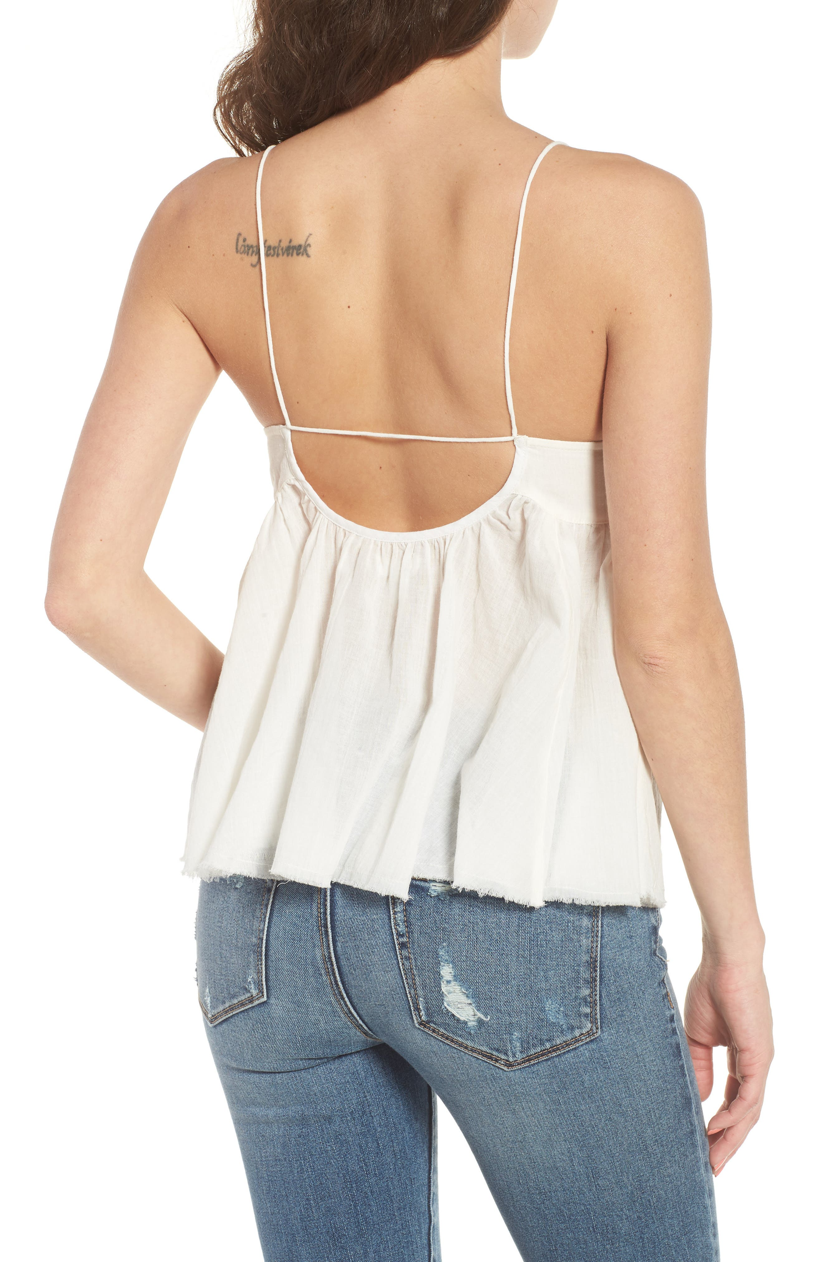 Embroidered Babydoll Tank,                             Alternate thumbnail 2, color,                             Ivory Egret
