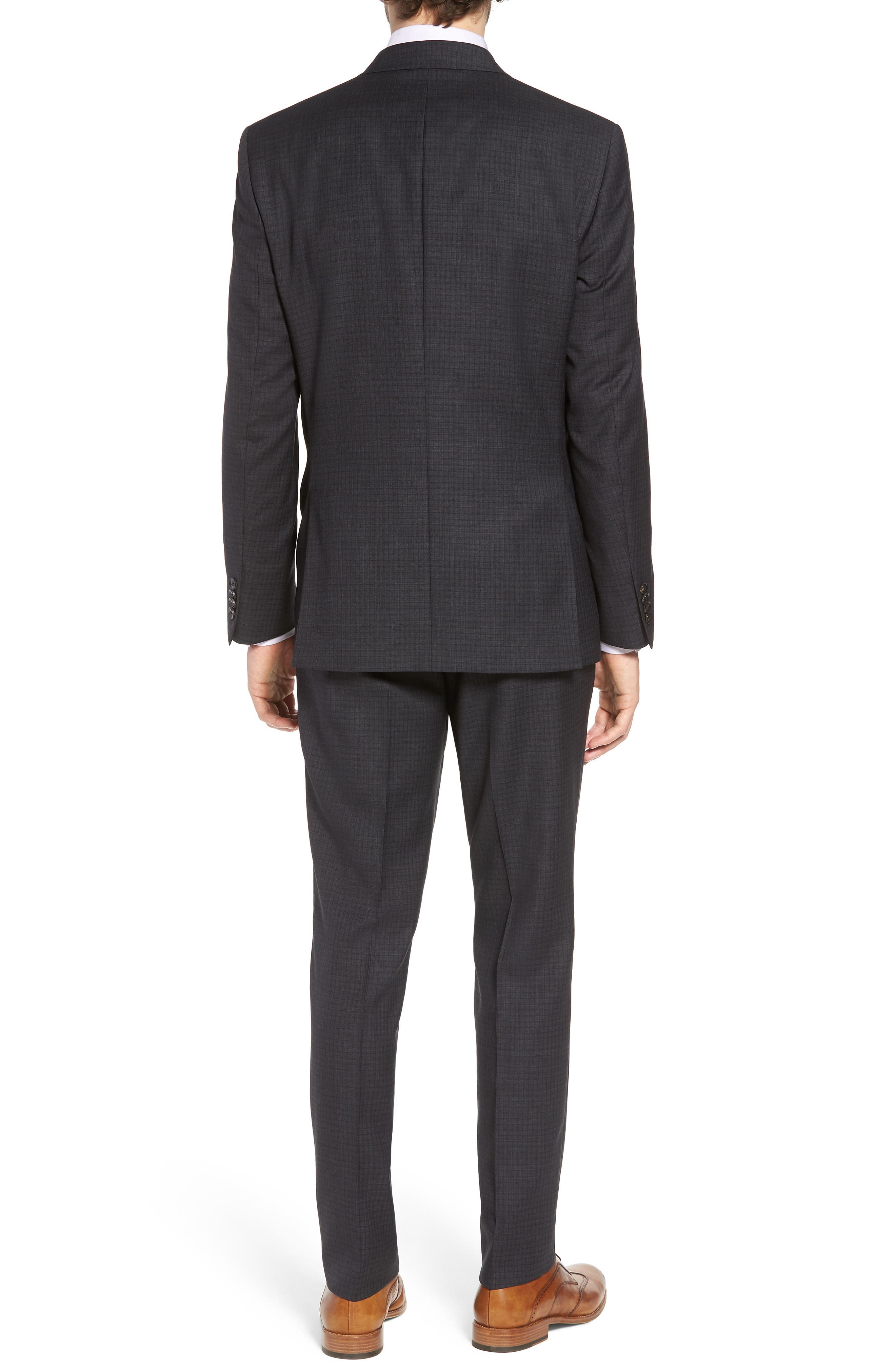 Jay Trim Fit Check Wool Suit,                             Alternate thumbnail 2, color,                             Charcoal