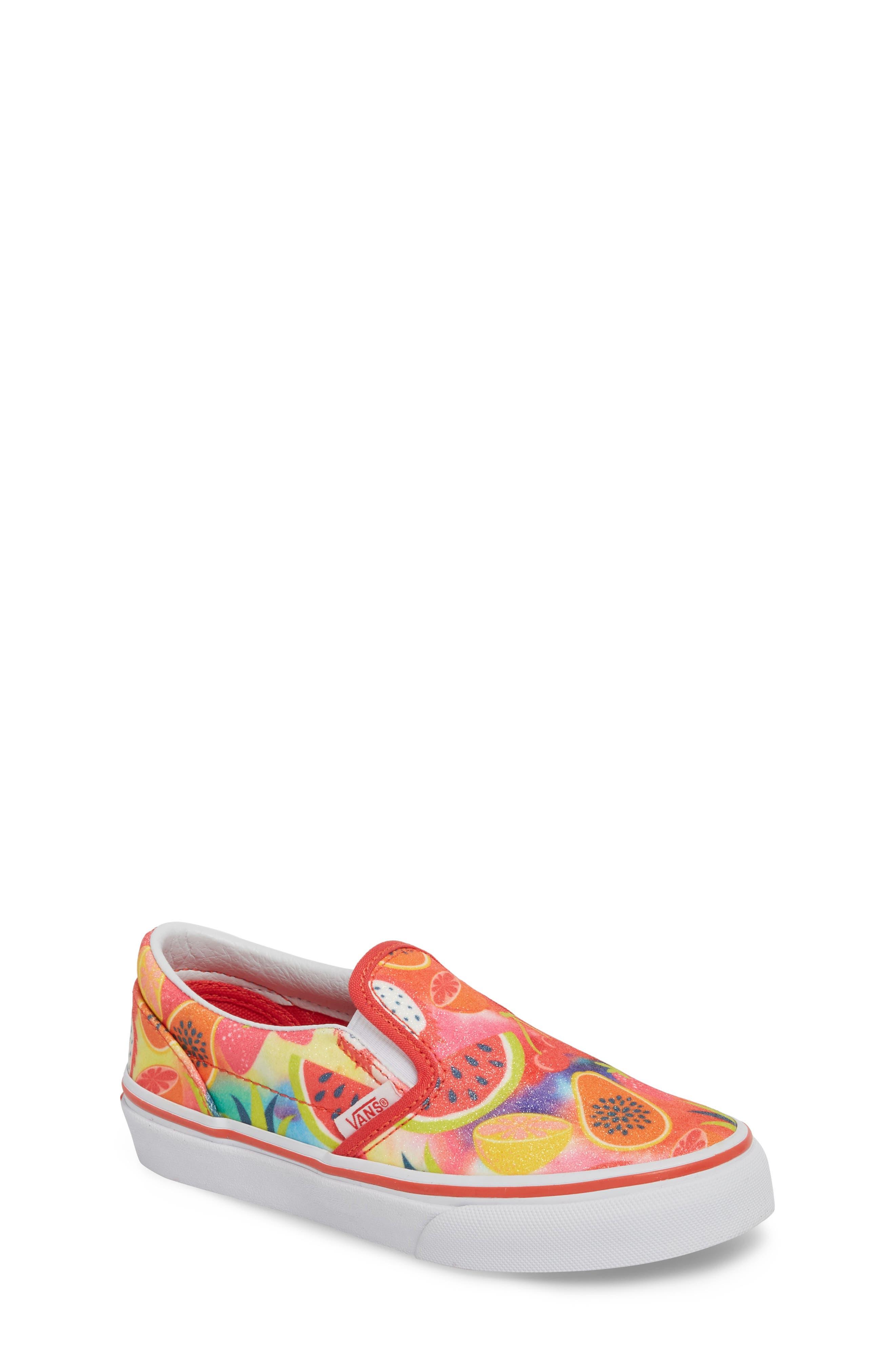 Classic Glitter Fruit Slip-On Sneaker,                             Main thumbnail 1, color,                             White/ Multi Glitter Fruits