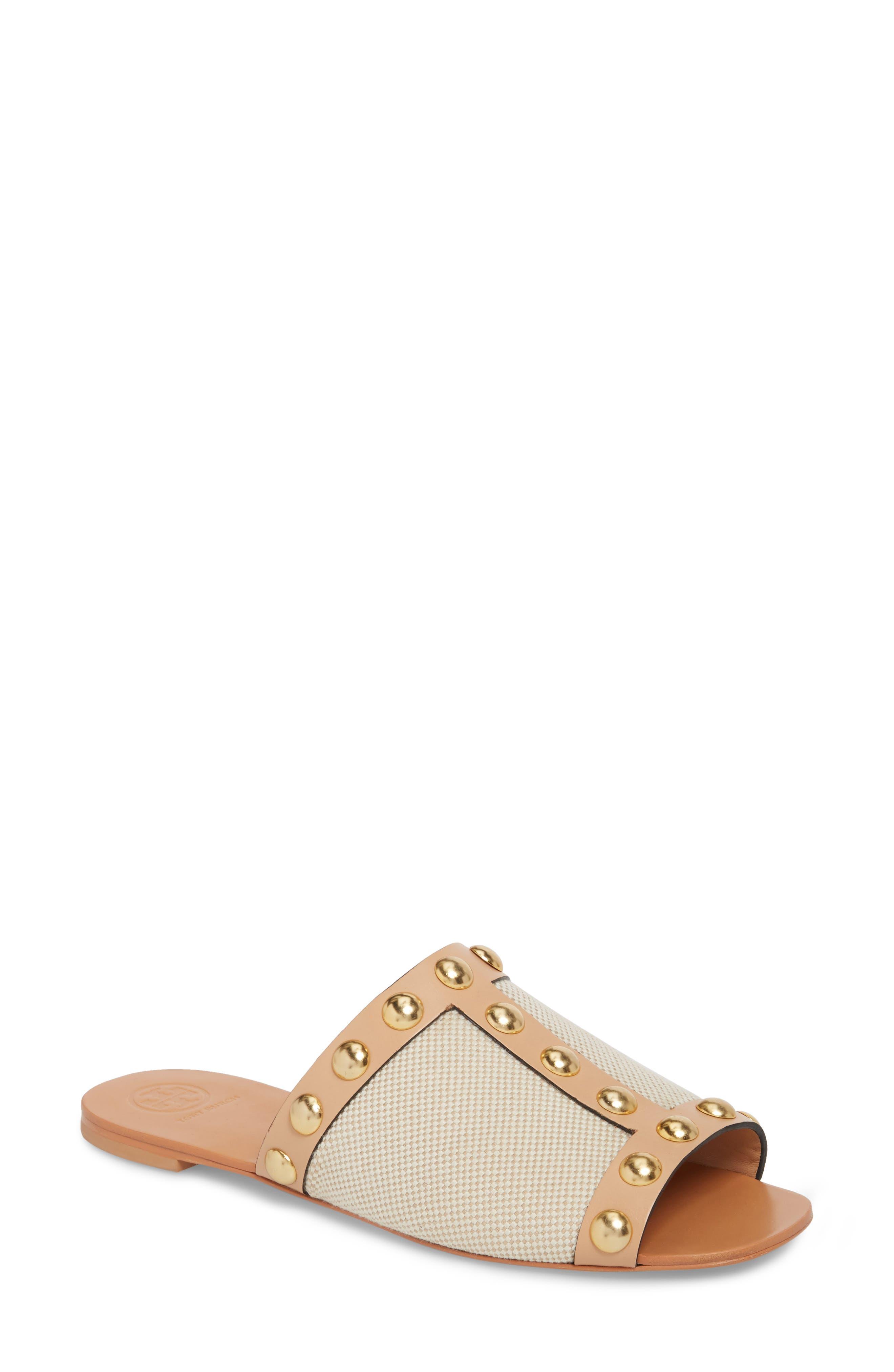 Blythe Slide Sandal,                         Main,                         color, Sand/ Natural Vachetta