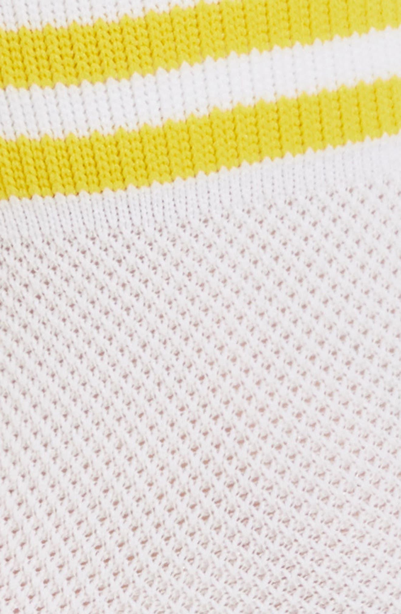 Stripe Mesh Ankle Socks,                             Alternate thumbnail 2, color,                             White/ Yellow