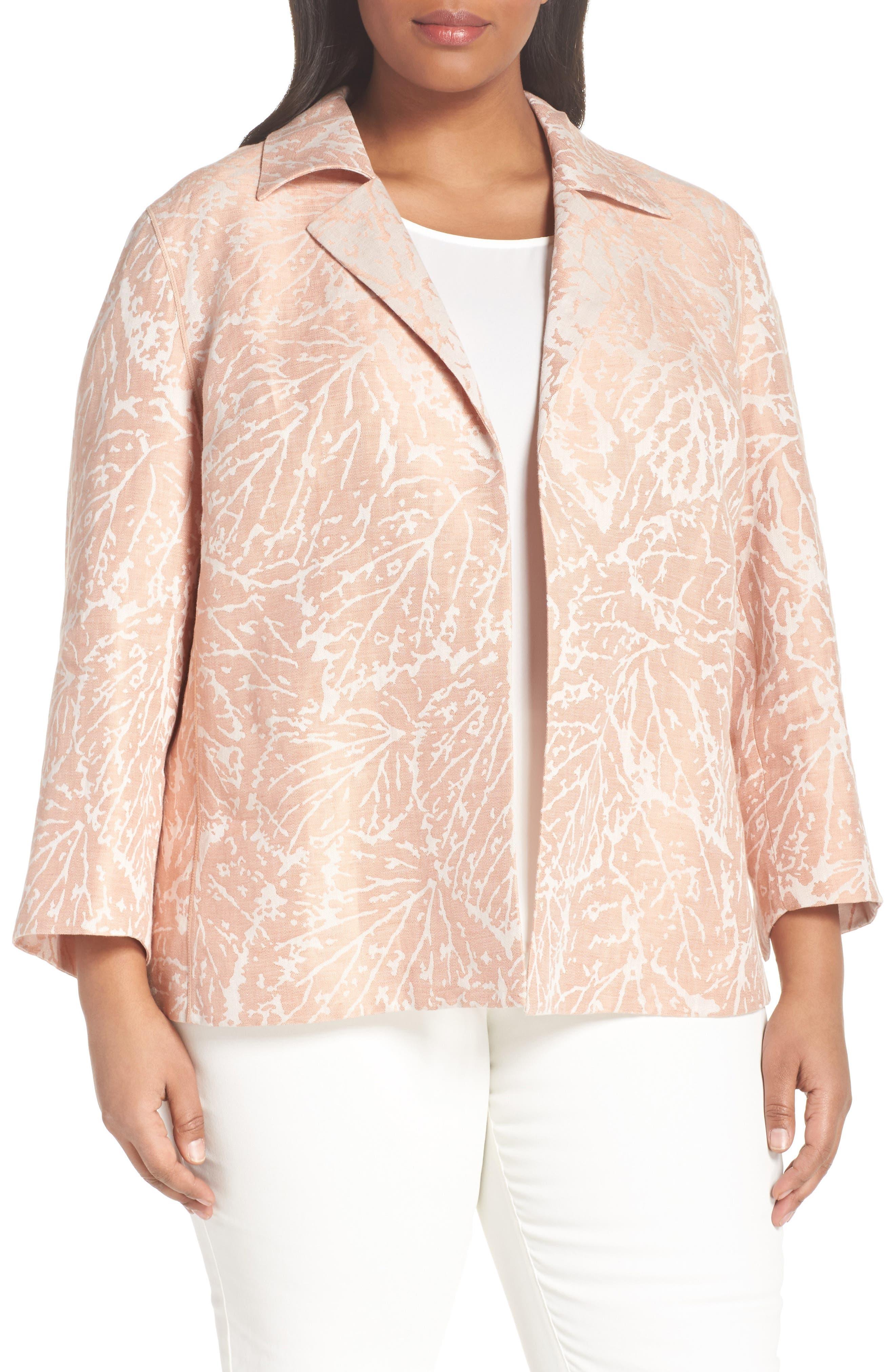 Phillipe Linen Jacket,                             Main thumbnail 1, color,                             Rose Quartz Multi