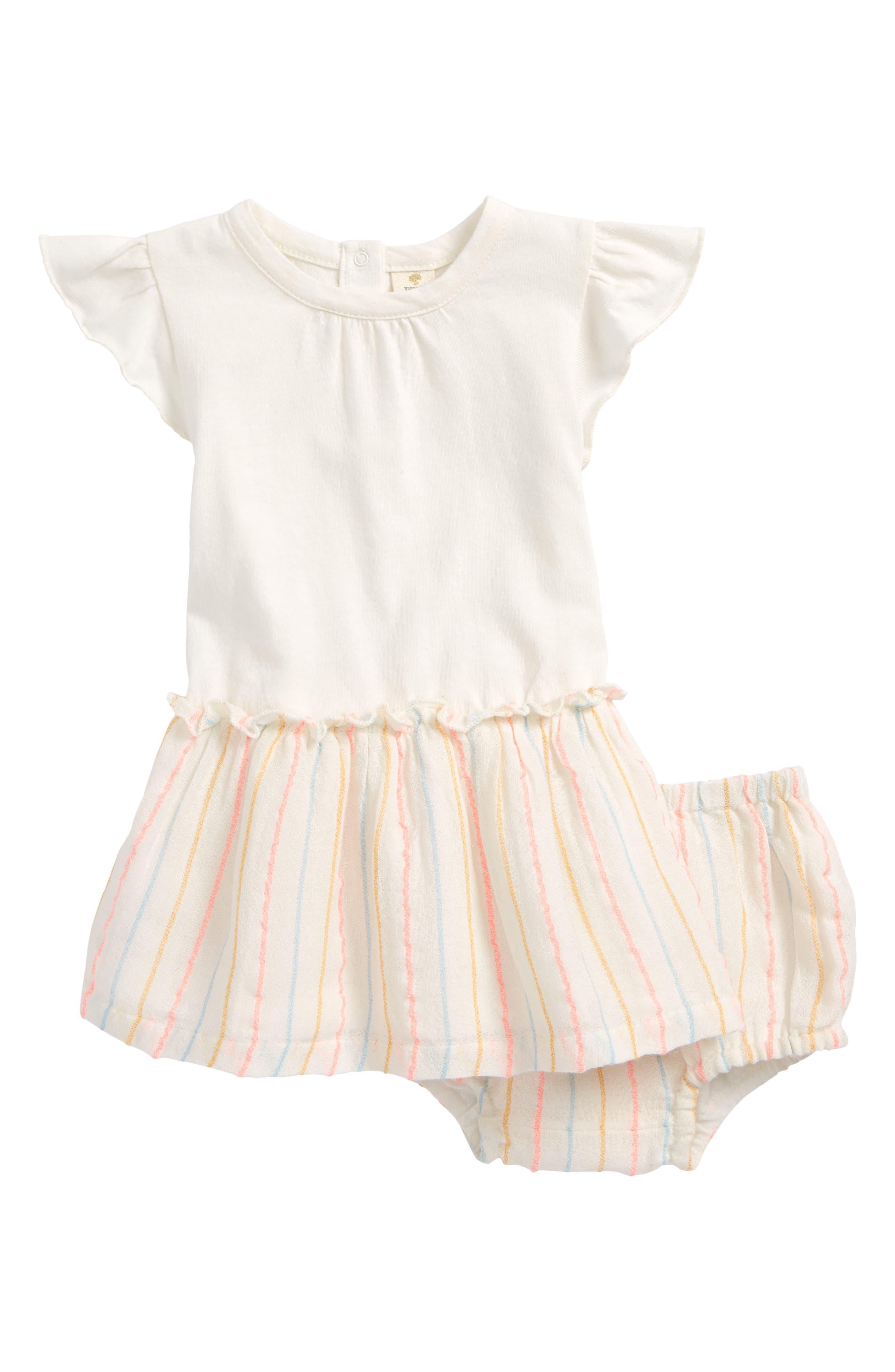 Flutter Sleeve Dress,                             Main thumbnail 1, color,                             Ivory Egret Multi Stripe