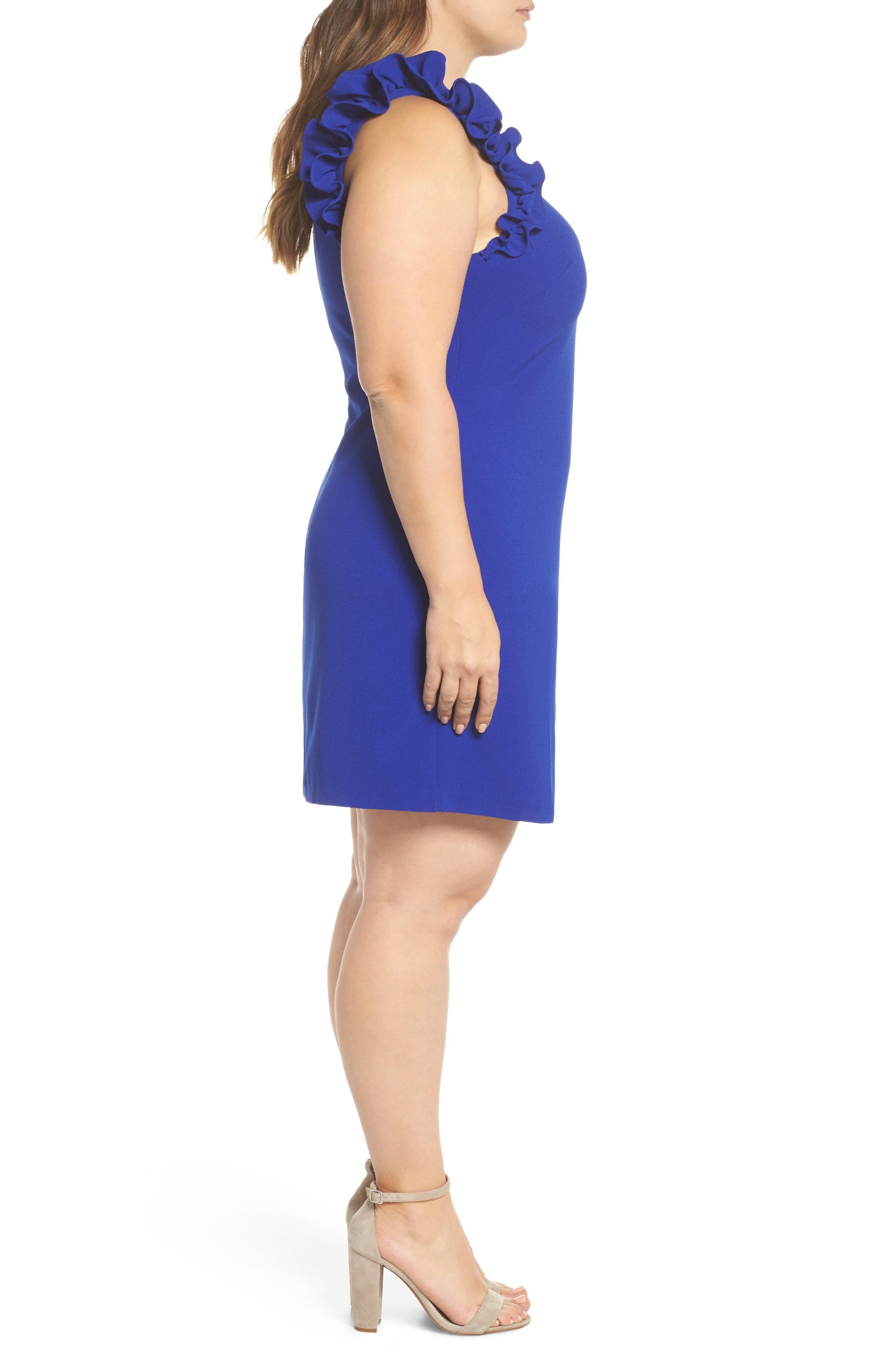 Ruffle Shoulder Crepe Shift Dress,                             Alternate thumbnail 3, color,                             Blue Surf