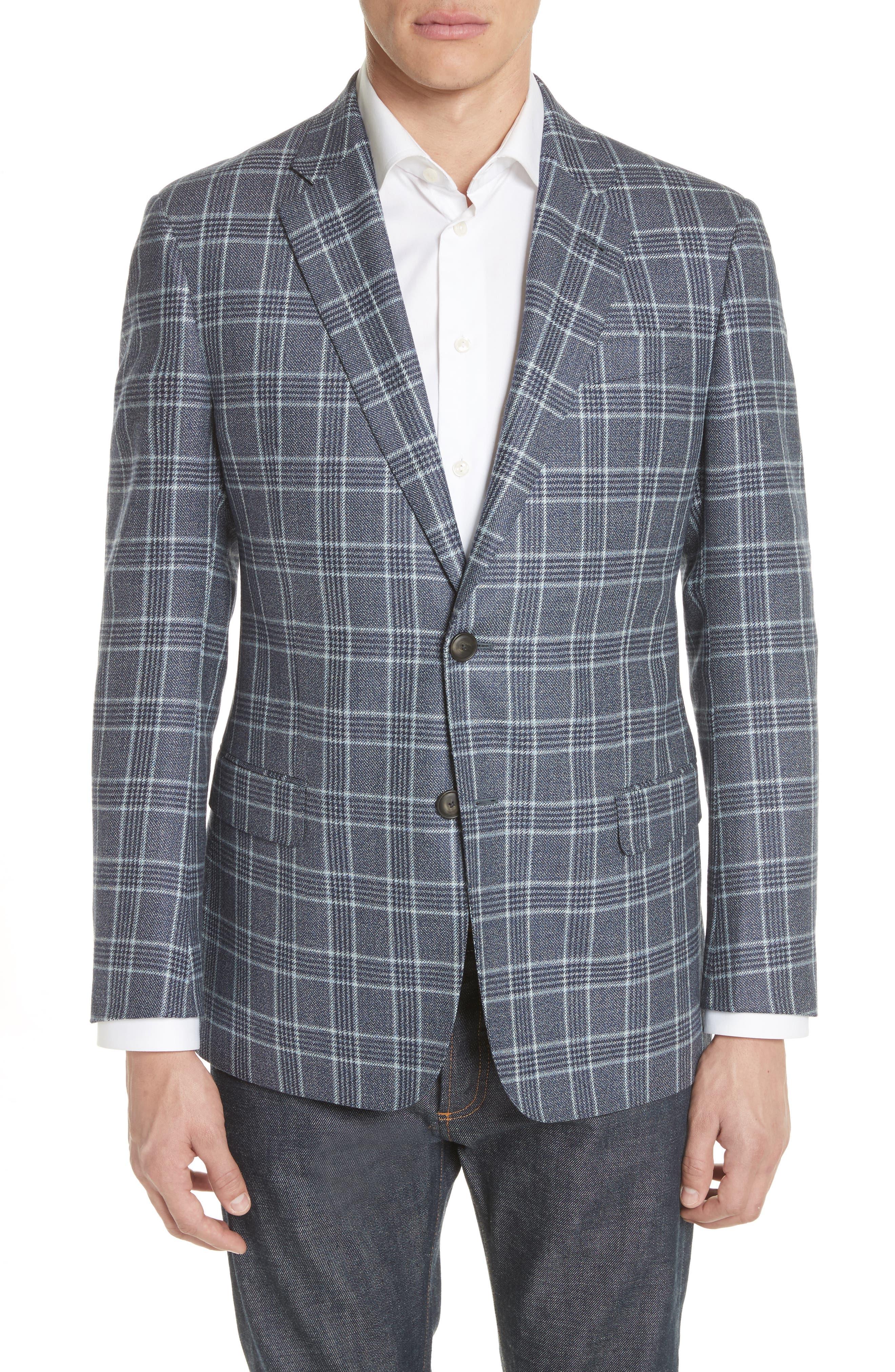 G Line Trim Fit Plaid Silk & Wool Sport Coat,                         Main,                         color, Blue