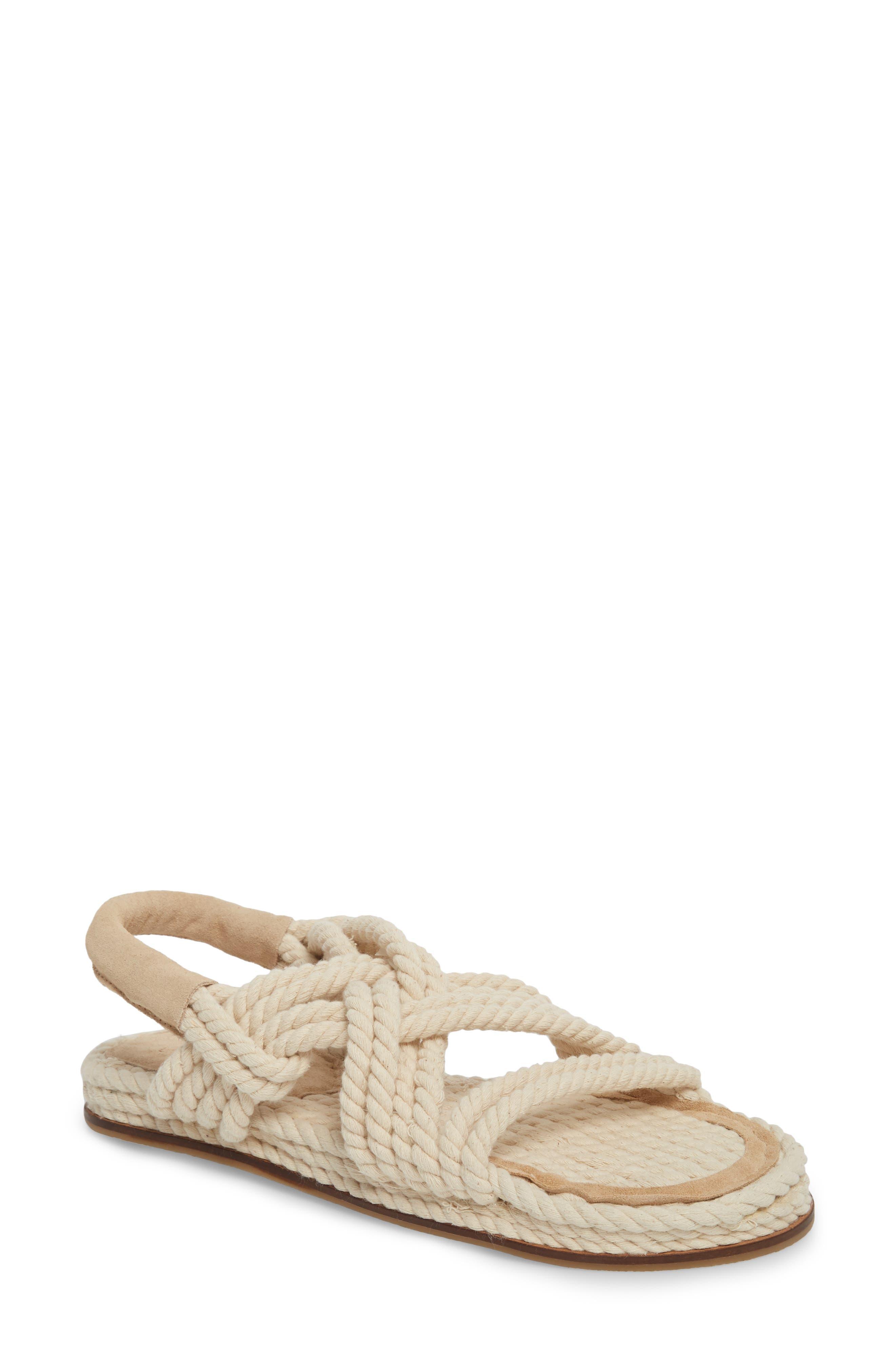 Fiesta Rope Flat Sandal,                             Main thumbnail 1, color,                             Nude