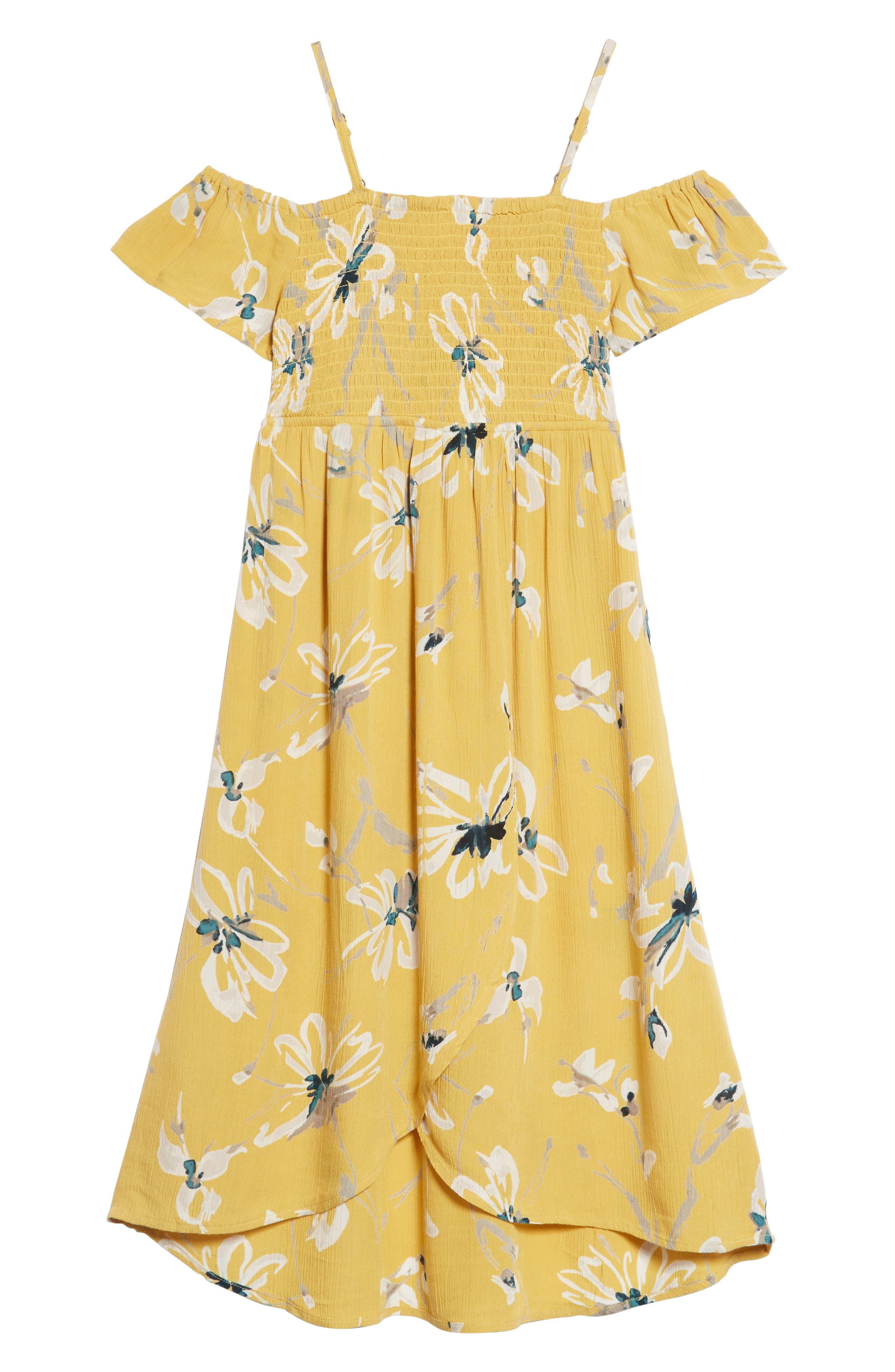 Vienna Cold Shoulder Dress,                             Main thumbnail 1, color,                             Goldie