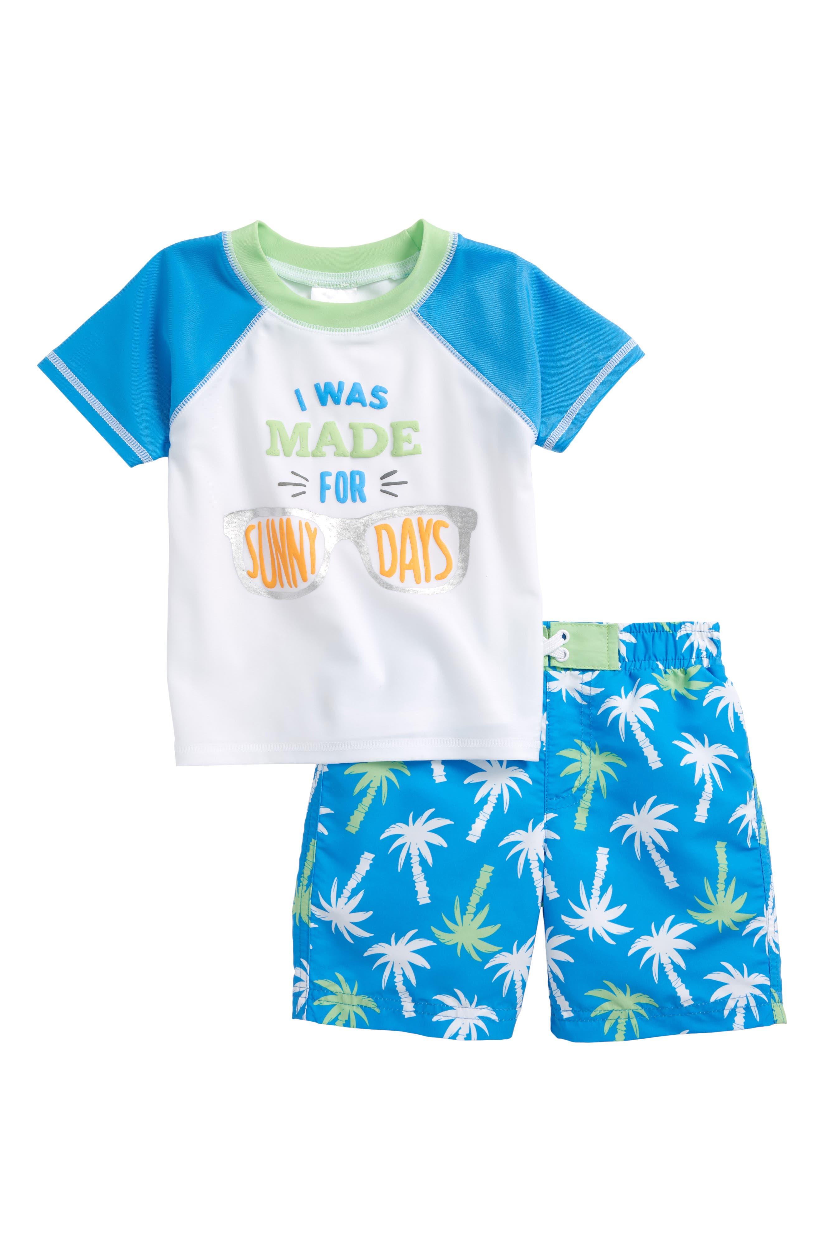 Sunny Palms Two-Piece Rashguard Swimsuit,                         Main,                         color, White Multi