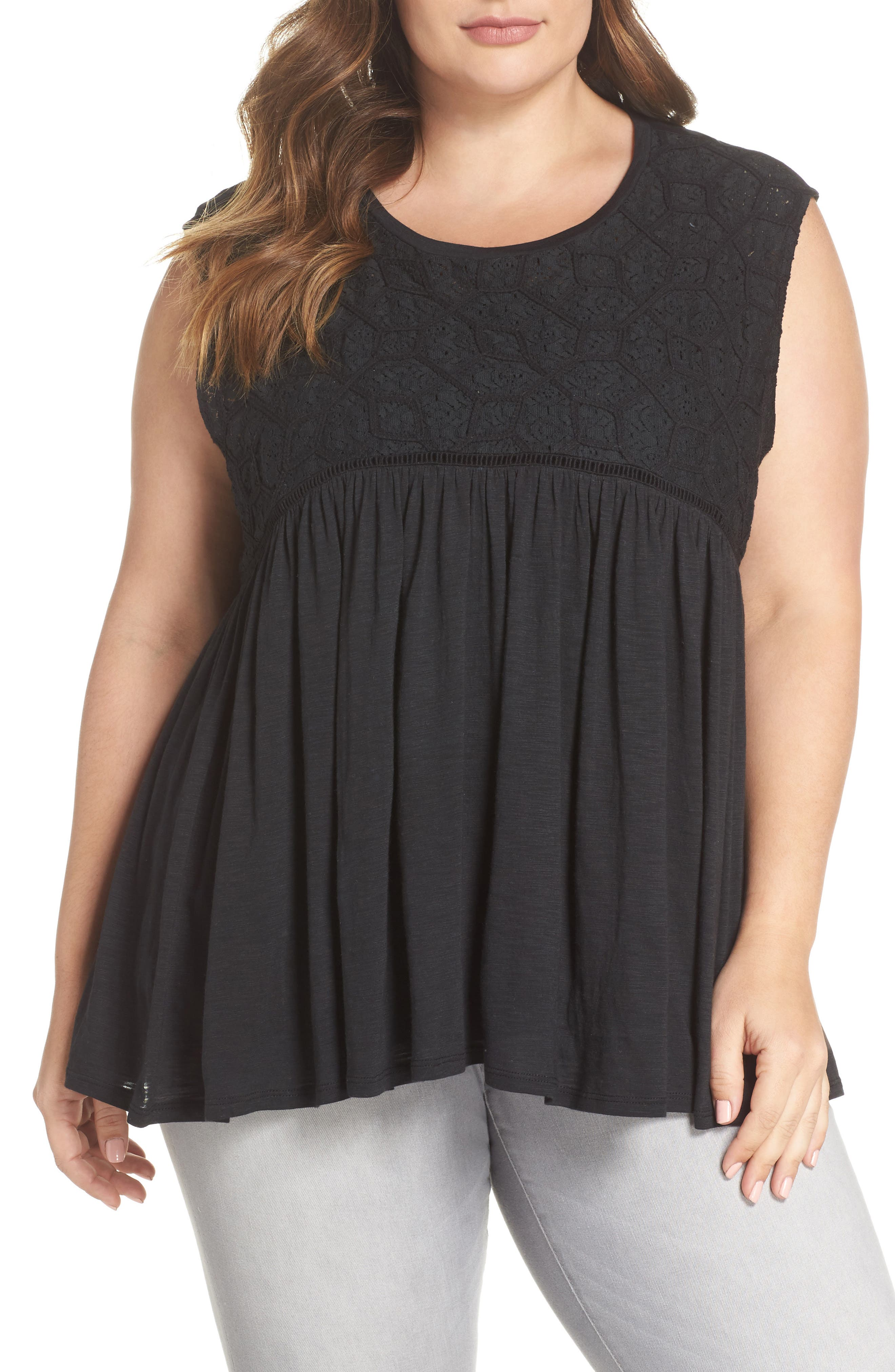 Mix Lace Knit Tank,                         Main,                         color, Black
