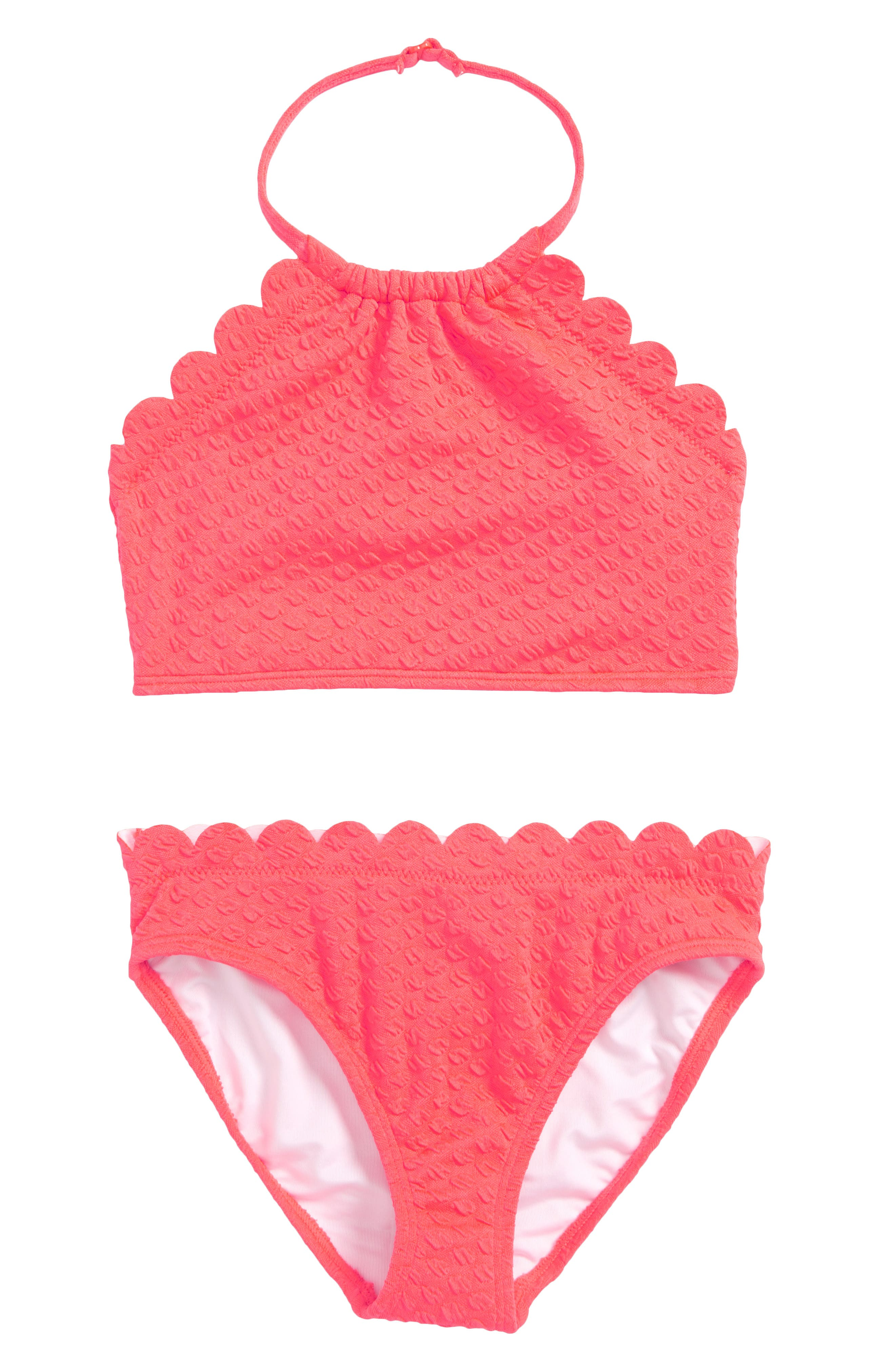 scalloped two-piece swimsuit,                         Main,                         color, Surprise Coral
