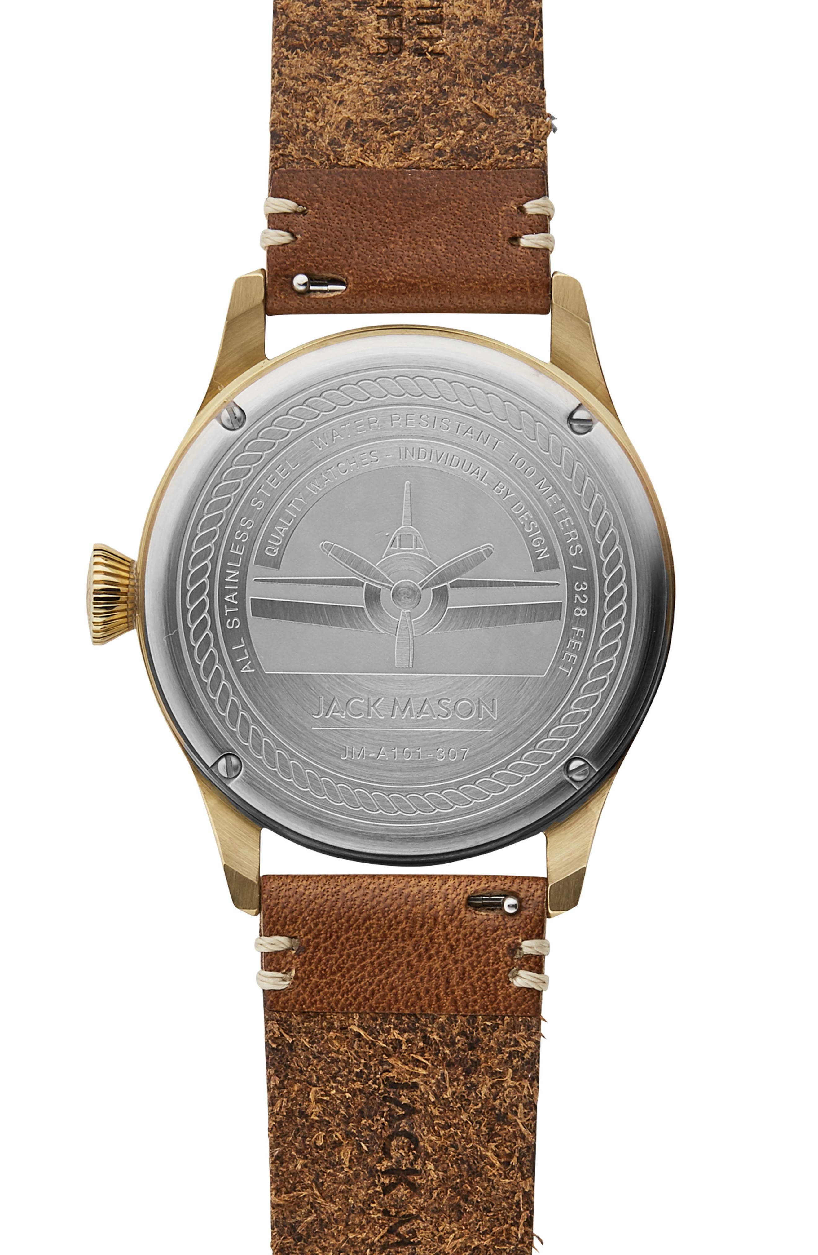 Aviation Leather Strap Watch, 42mm,                             Alternate thumbnail 2, color,                             Navy/ Saddle
