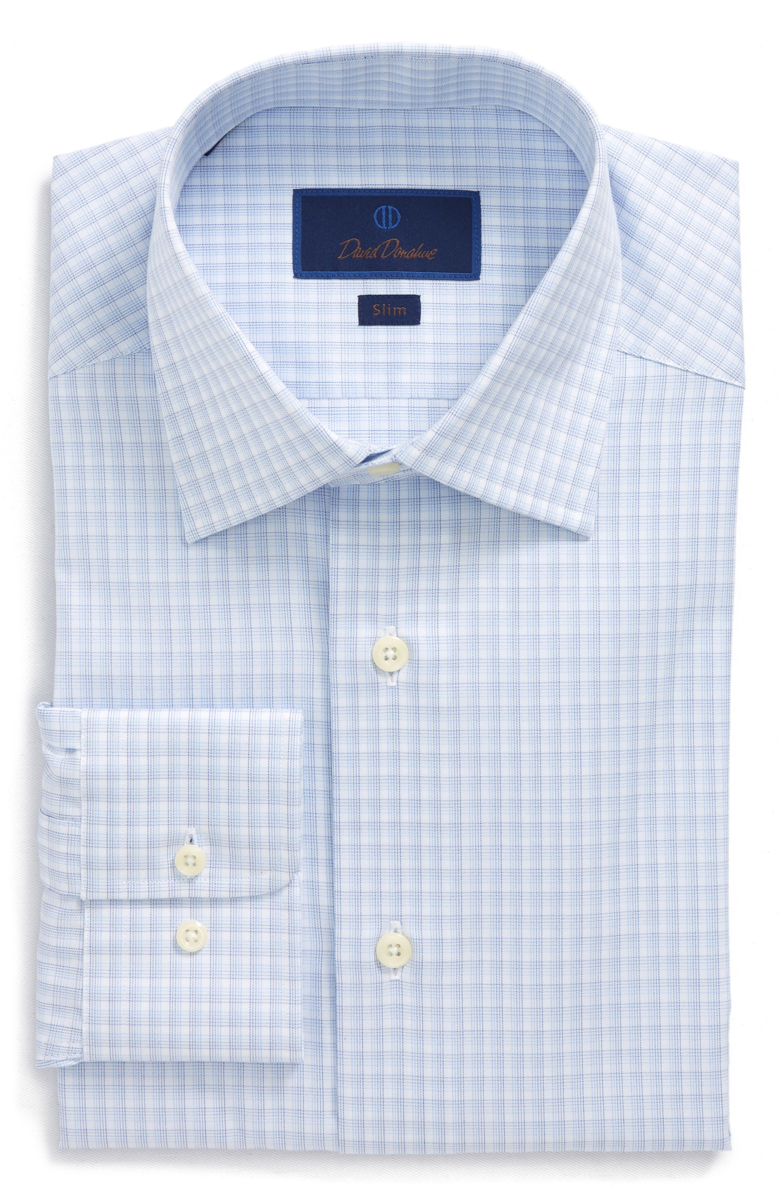 Slim Fit Plaid Dress Shirt,                         Main,                         color, Blue