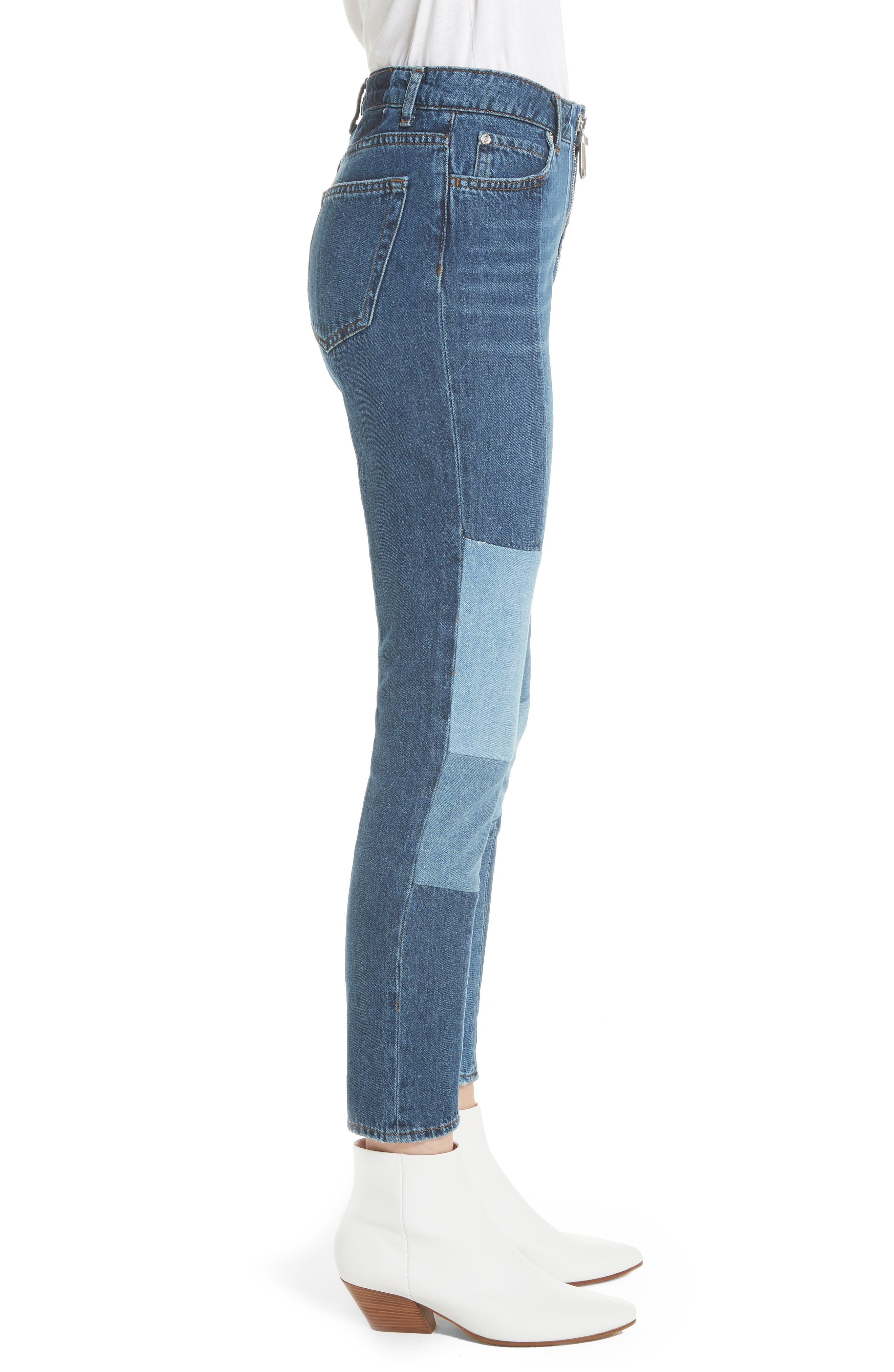 Patch Skinny Jeans,                             Alternate thumbnail 3, color,                             Blue